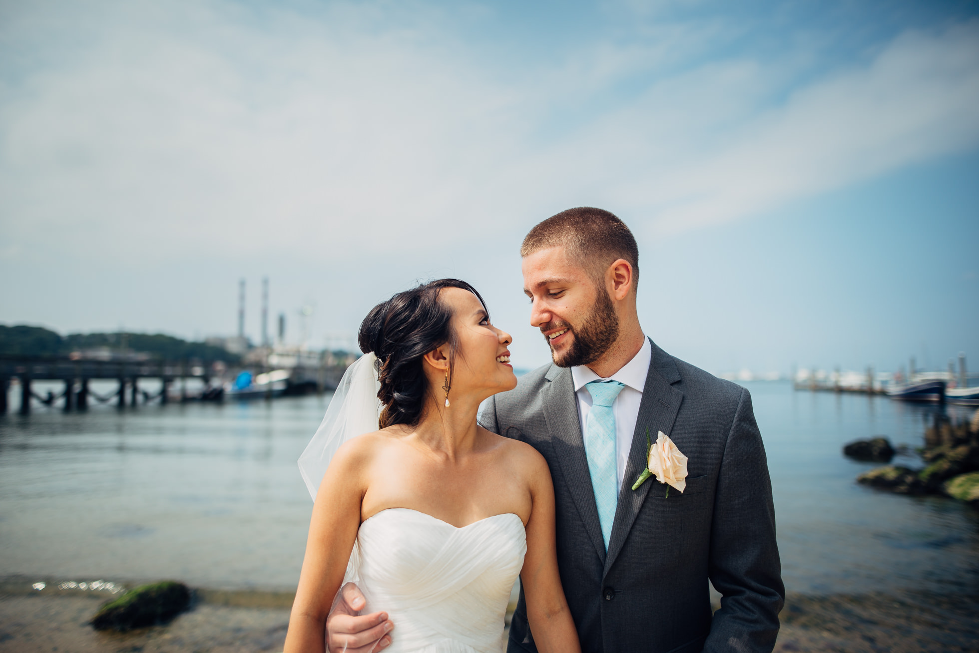 Danford's wedding Port Jefferson docks boardwalk oceanview
