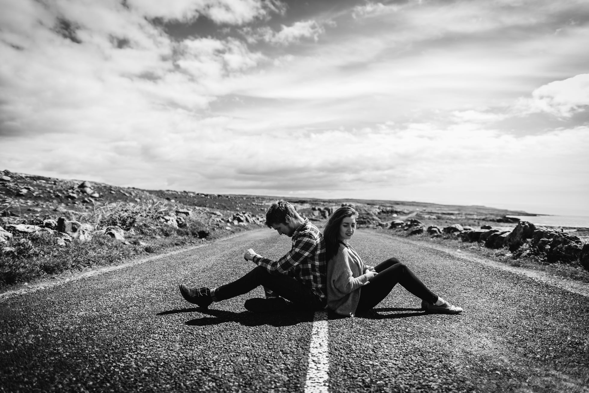 sitting middle of road engagement photos