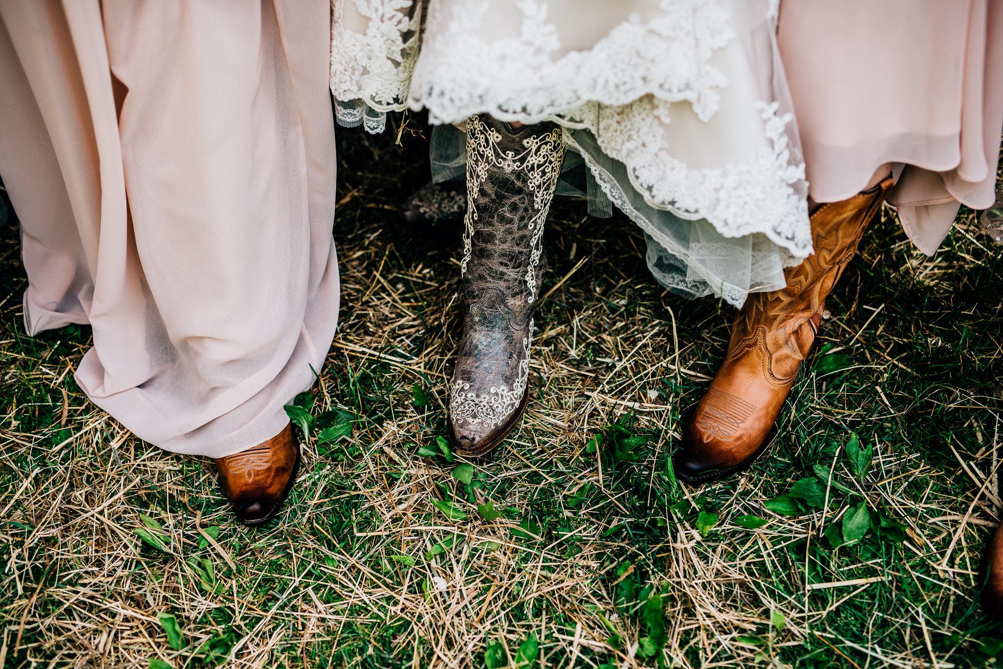bride and bridesmaids cowboy boots