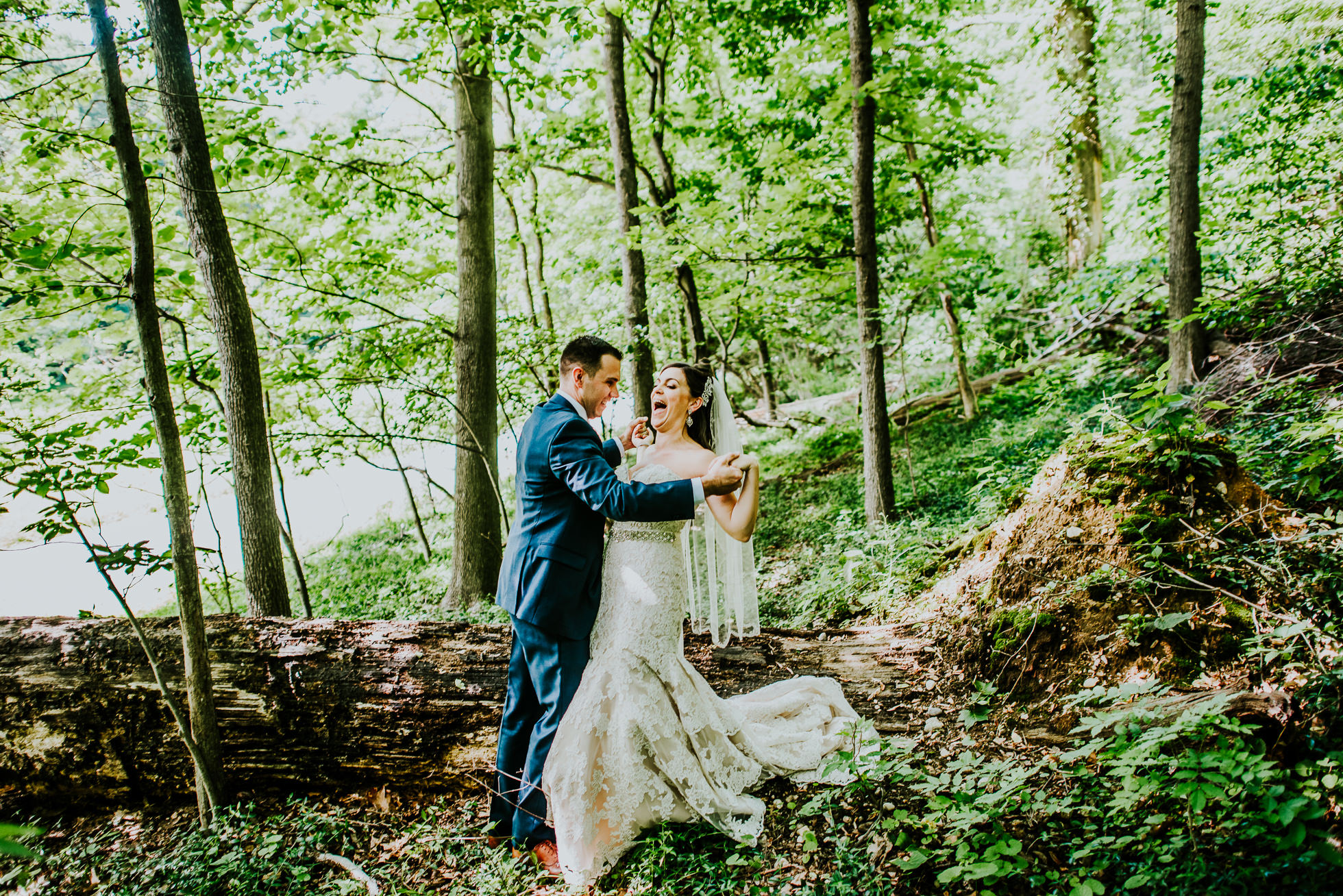 bride and groom forest portraits