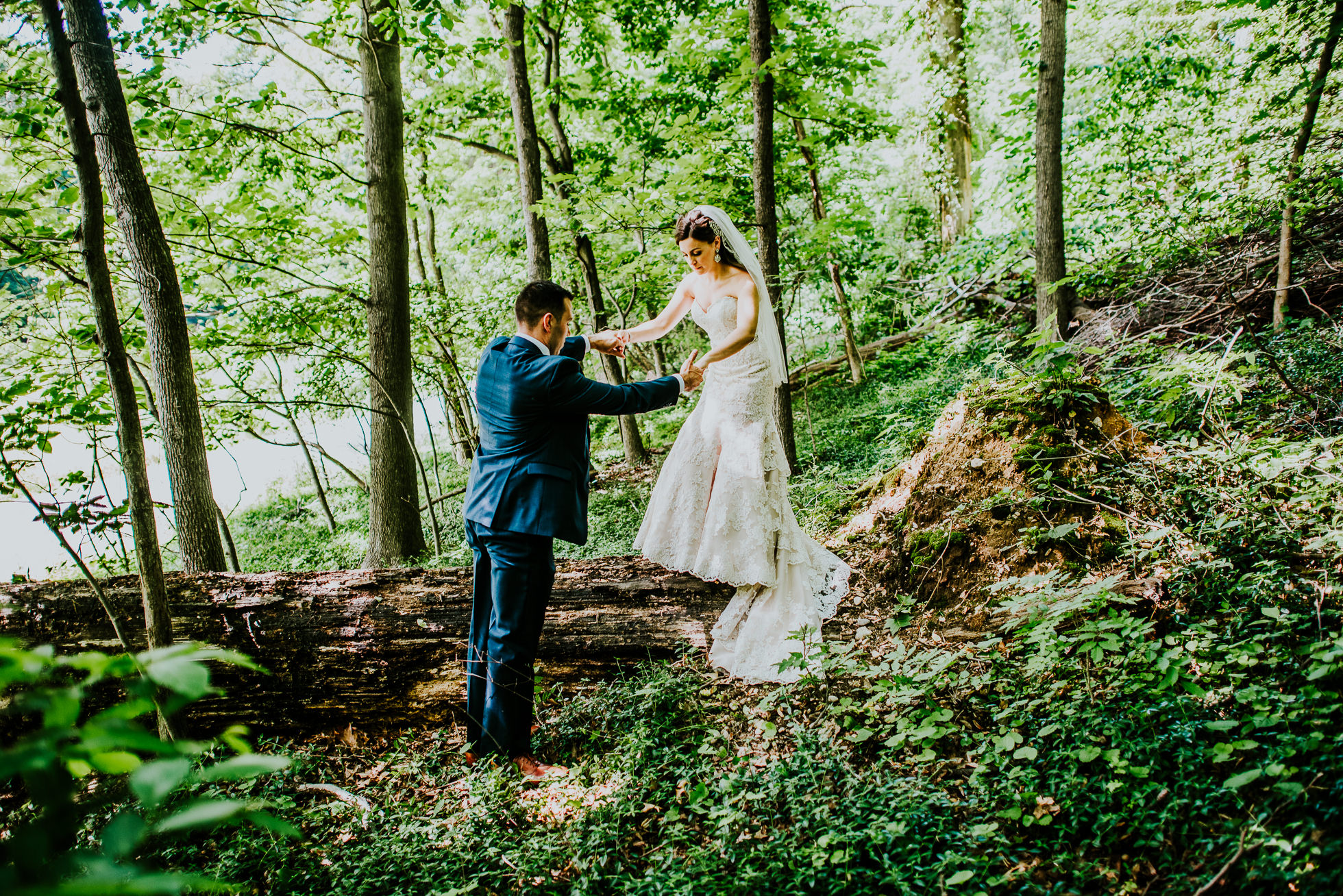 bride and groom forest
