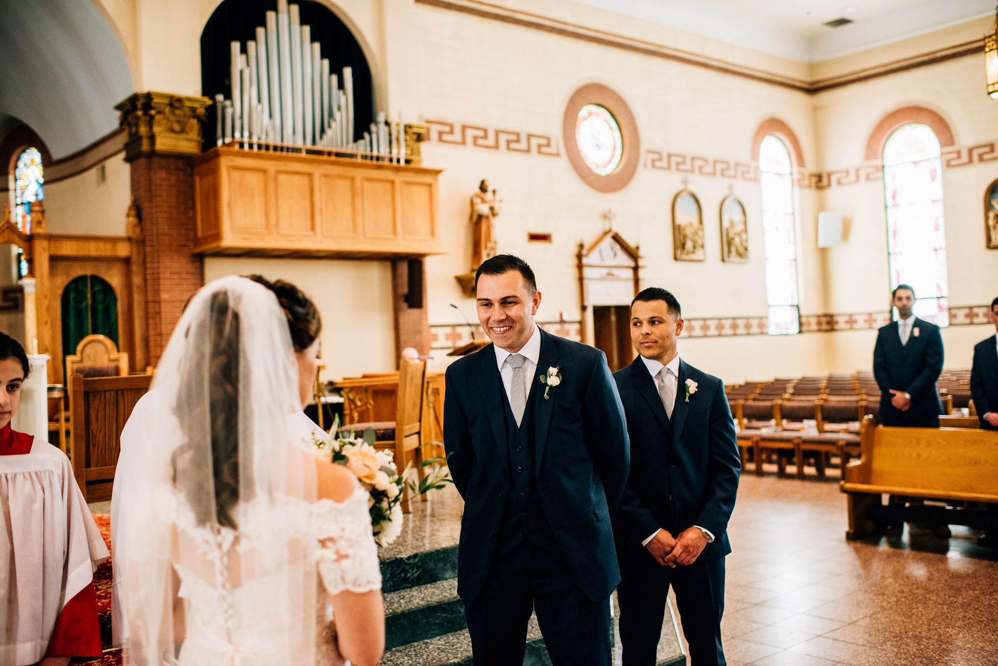 first look long island church wedding