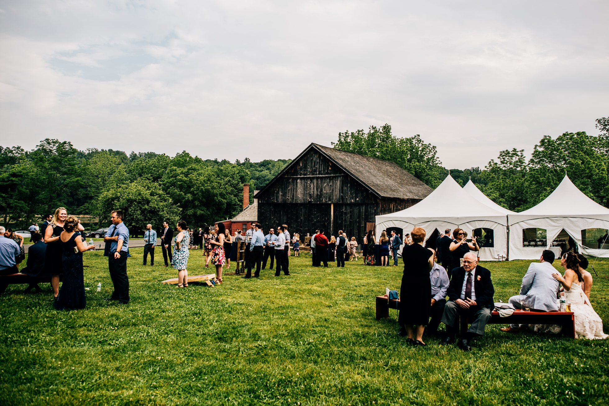 george weir barn wedding cocktail hour