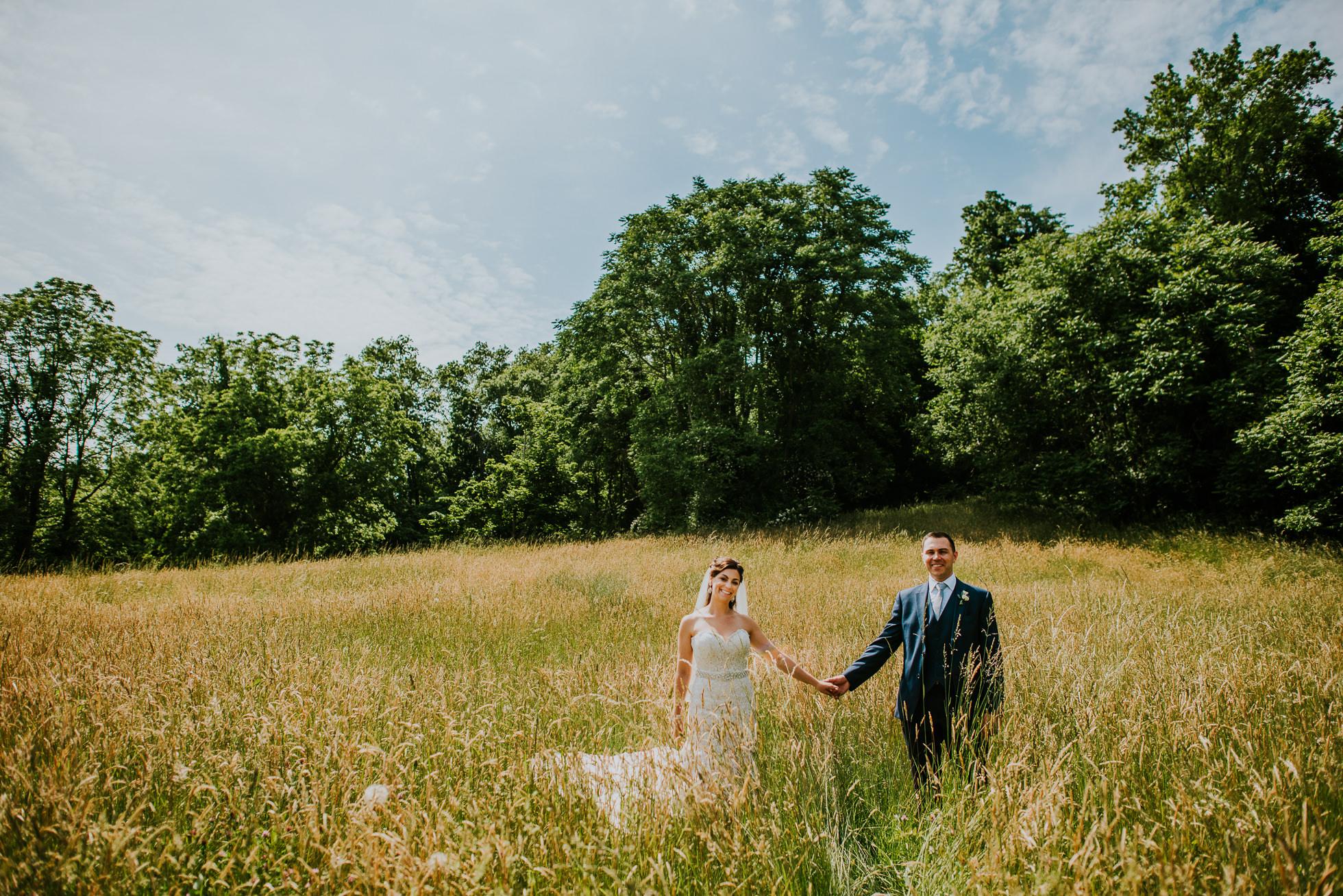 grassy field wedding