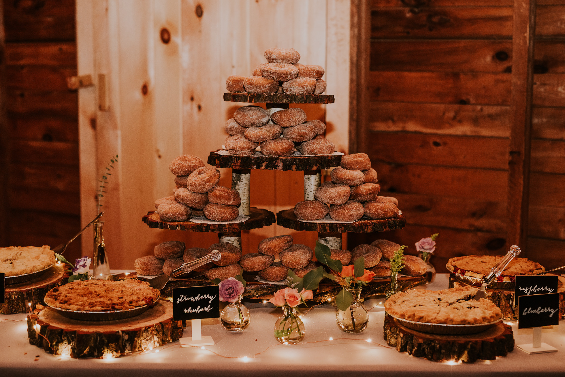 pies and donuts at olde tater barn wedding in central bridge photographed by traverse the tides