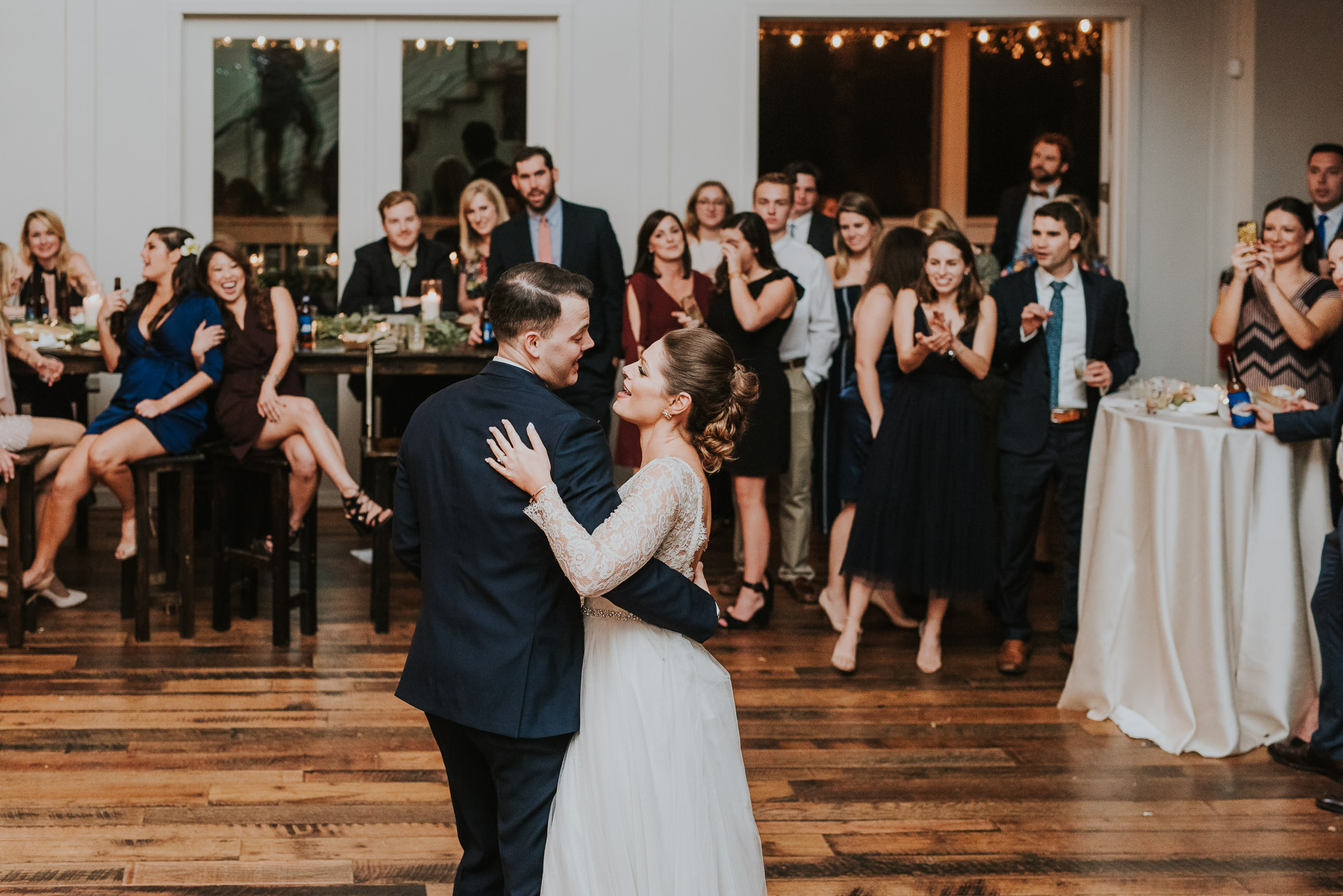 bride and groom first dance at the cordelle rustic wedding
