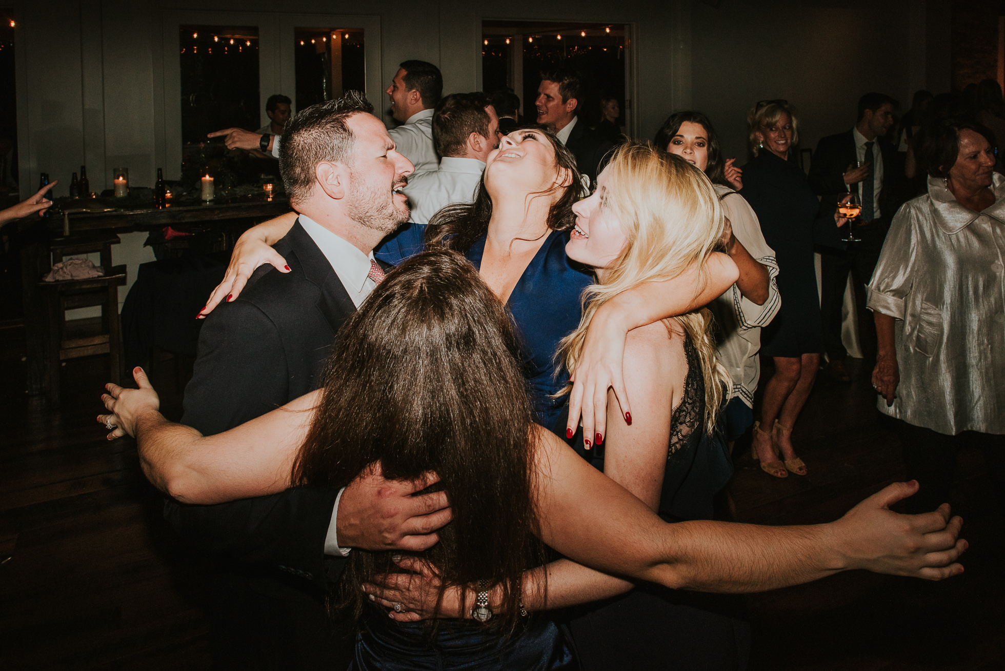 guests hugging at wedding reception at the cordelle nashville wedding