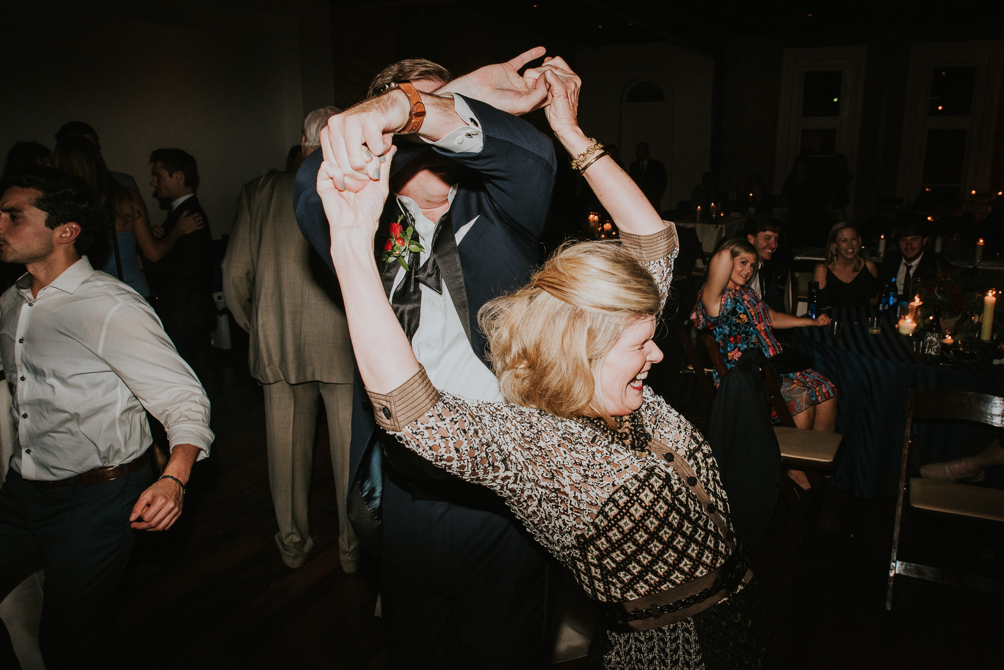 wild guests dancing at wedding reception at the cordelle nashville wedding