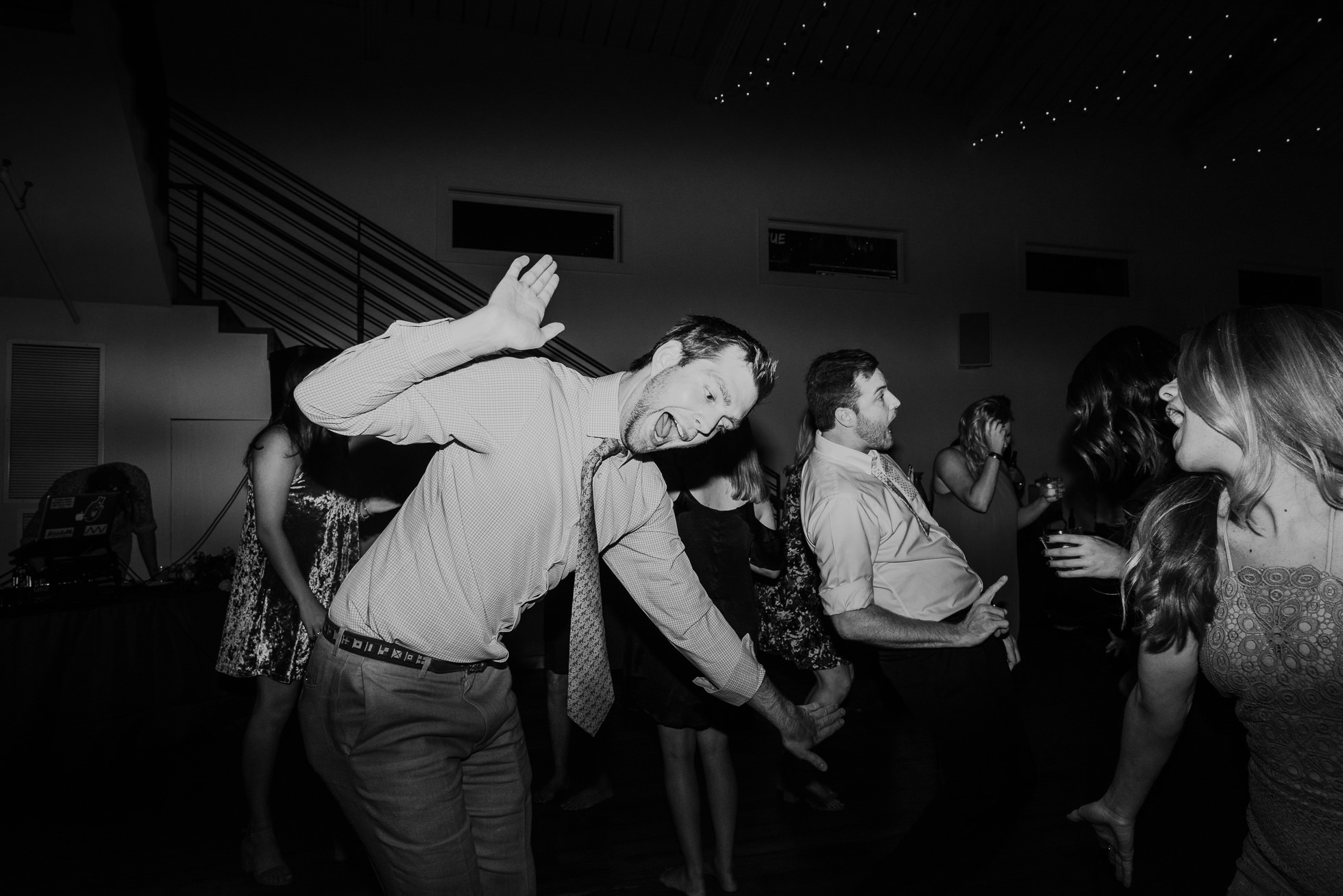 guests funny dancing at wedding reception at the cordelle nashville wedding