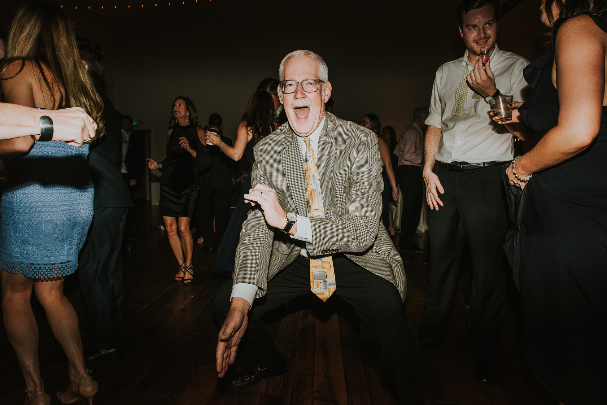 wild man dancing at wedding reception at the cordelle nashville wedding