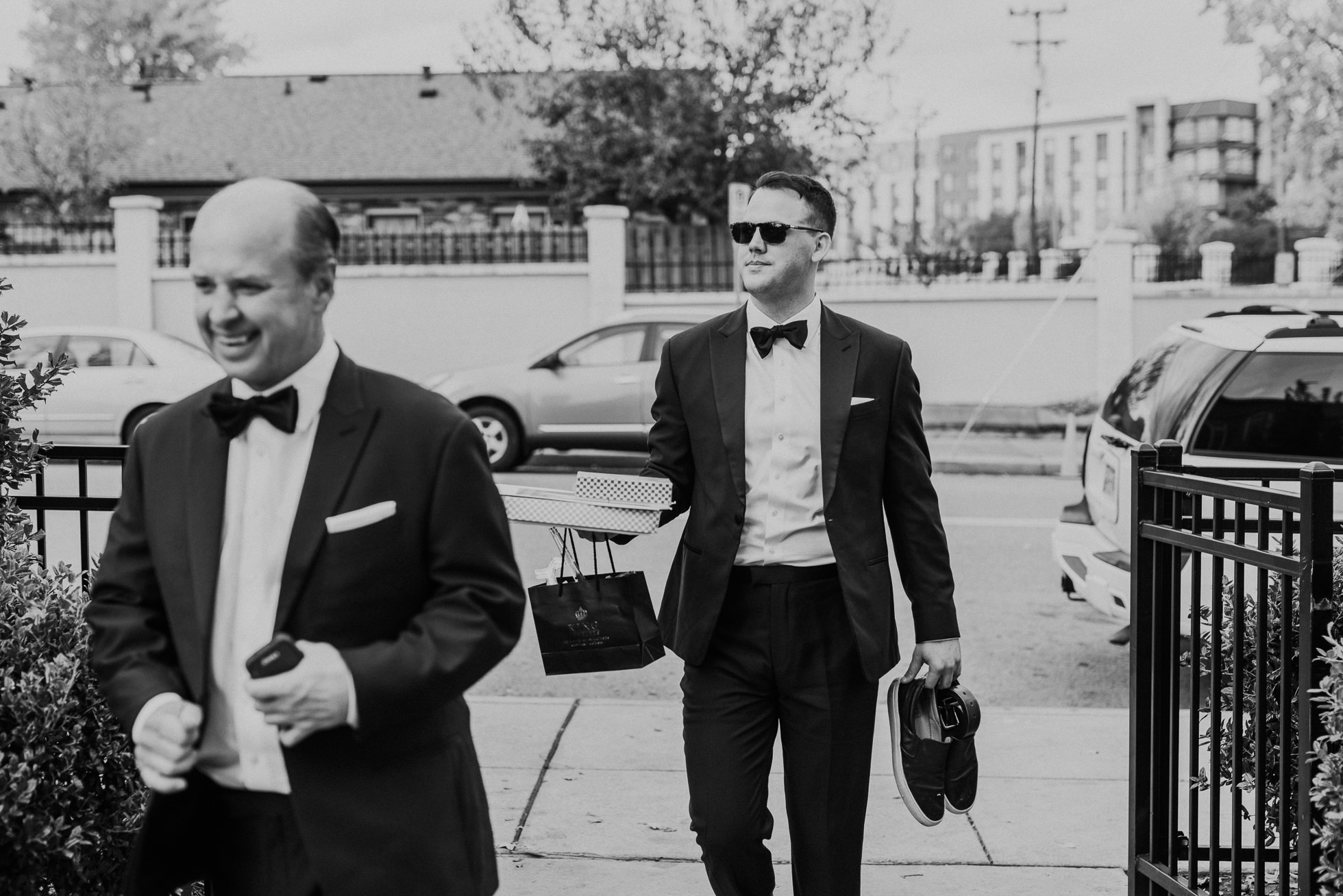 groom arriving to the wedding at the cordelle in nashville