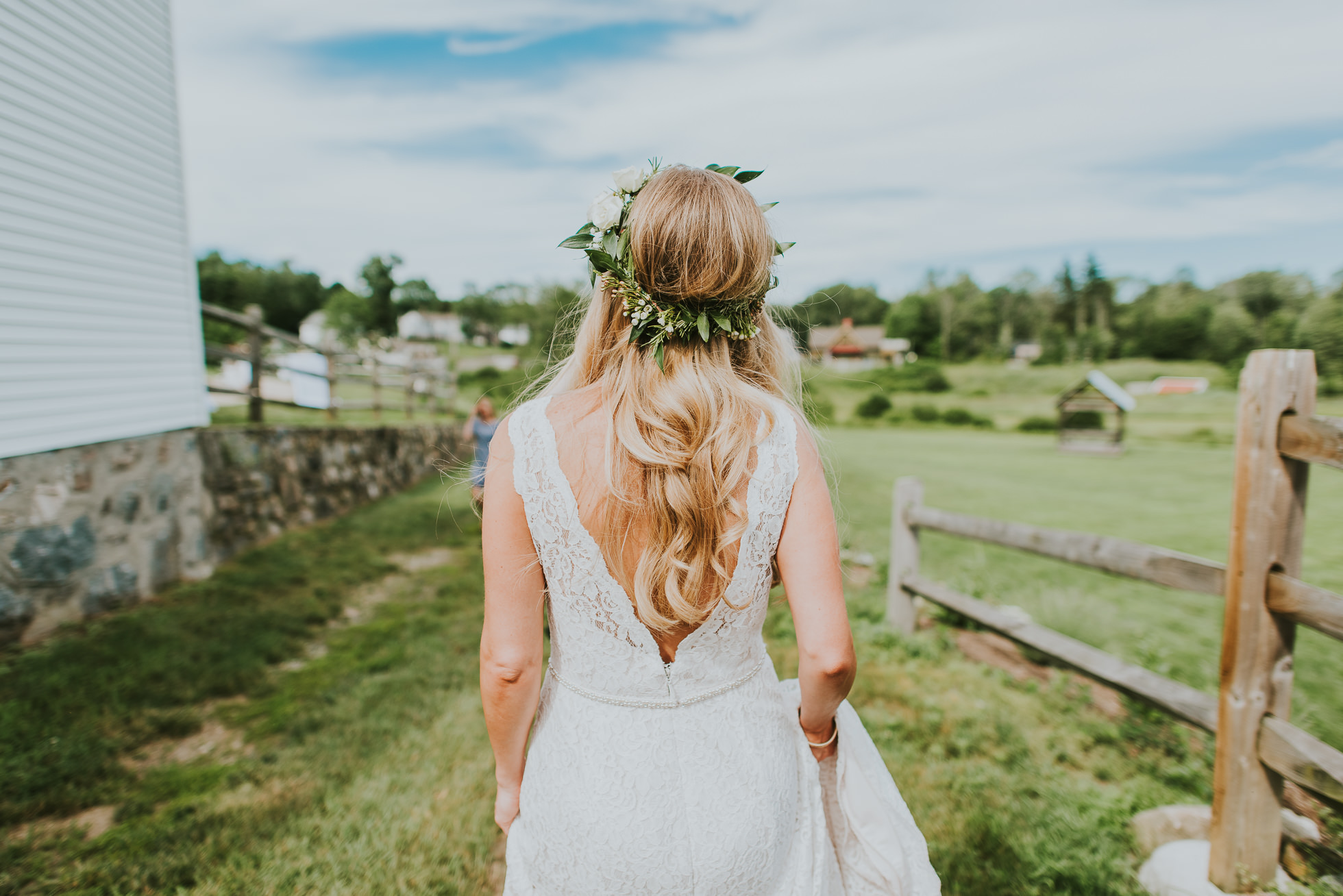 flower crown on bride photographed by Traverse the Tides