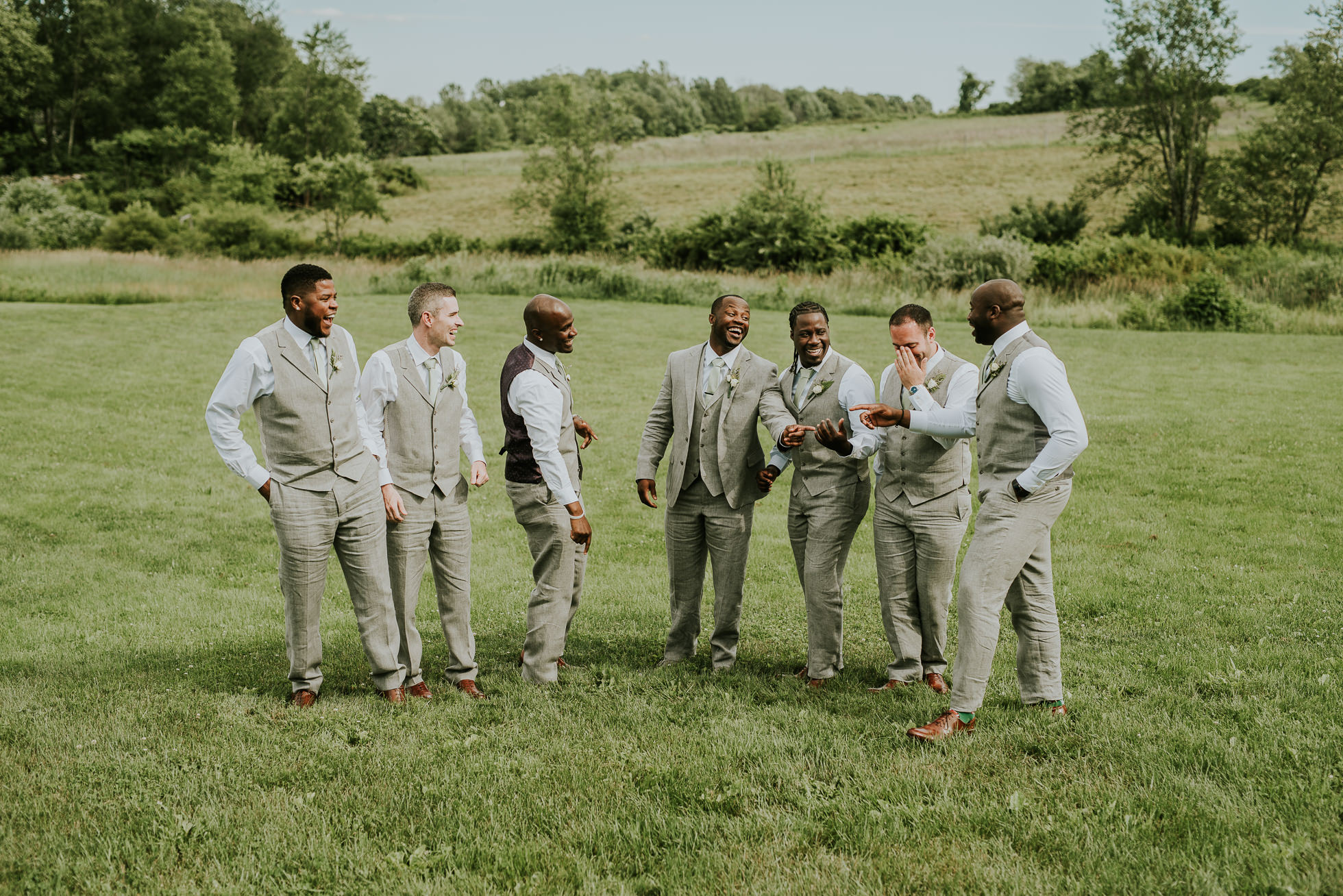 groomsmen South Farms wedding photographed by Traverse the Tides