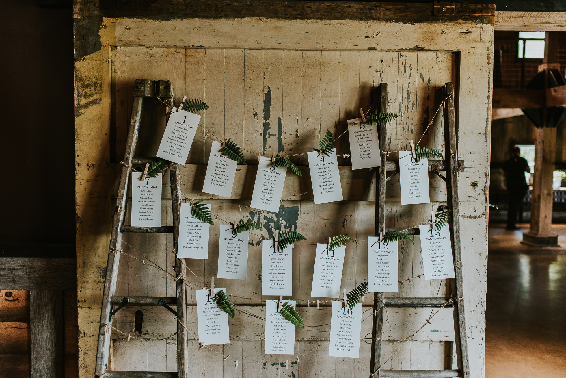 rustic wedding seating chart photographed by Traverse the Tides