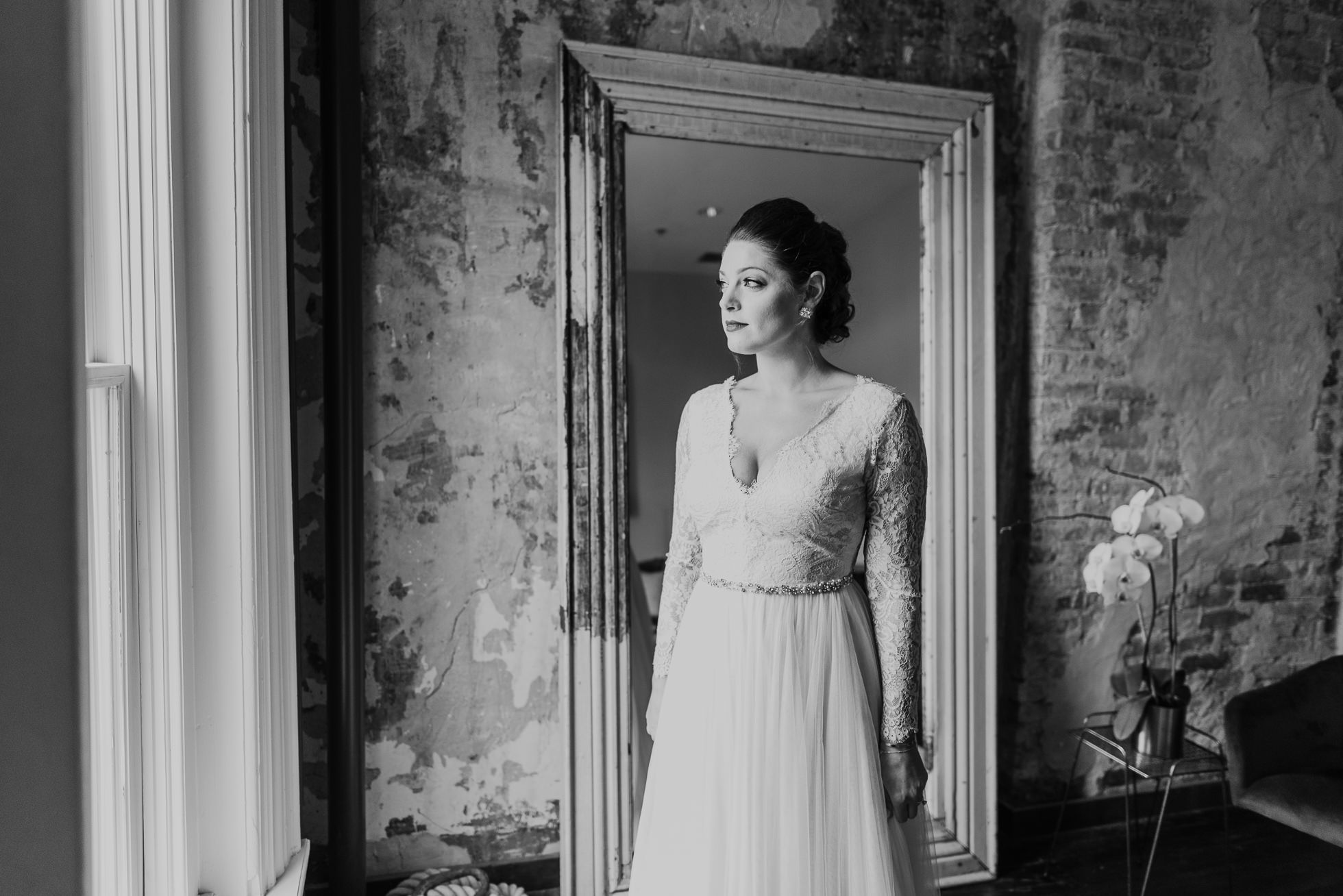 black and white bridal portrait the cordelle nashville wedding
