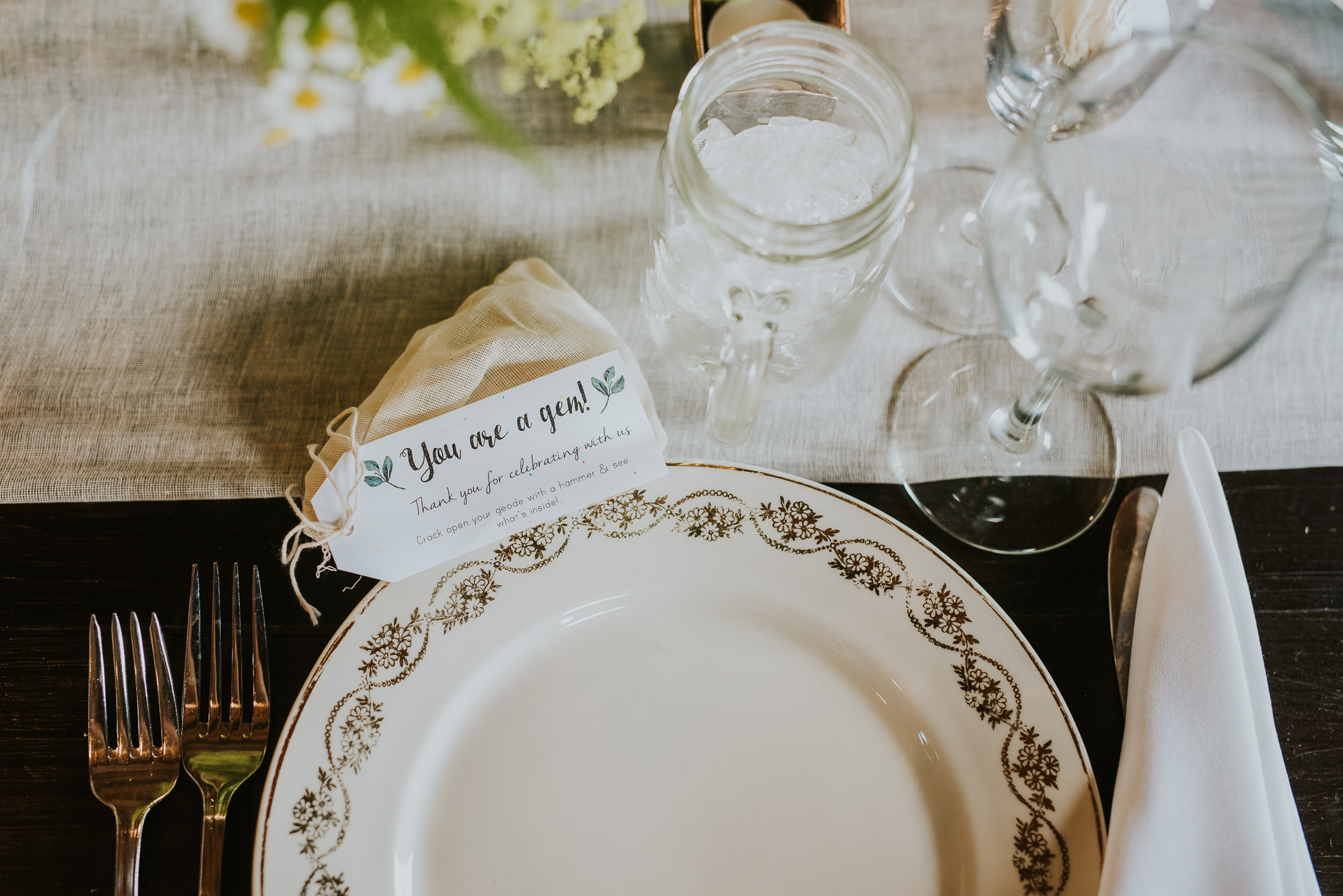 vintage plates for wedding reception photographed by Traverse the Tides