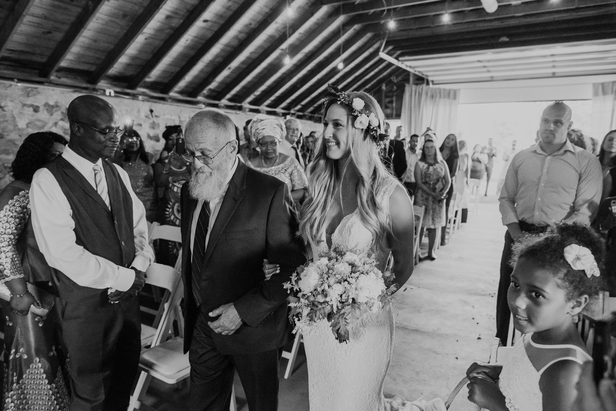 bride and father rustic wedding photographed by Traverse the Tides