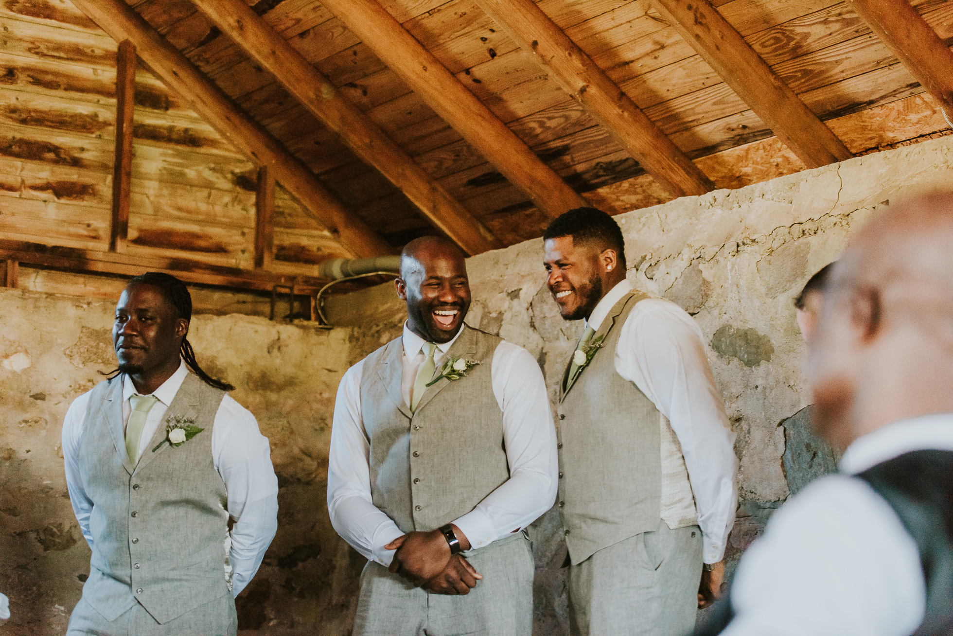 groomsmen suits rustic wedding photographed by Traverse the Tides