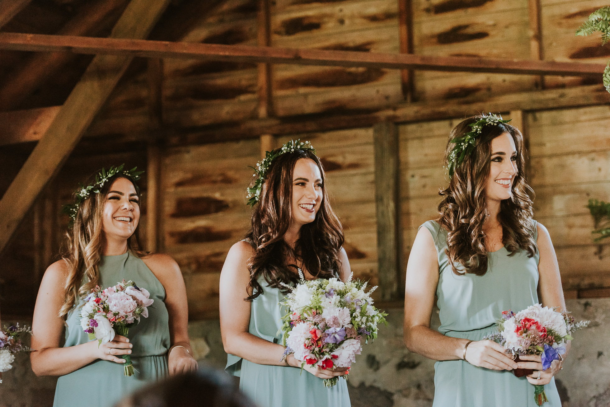 bridesmaids flowers rustic wedding photographed by Traverse the Tides