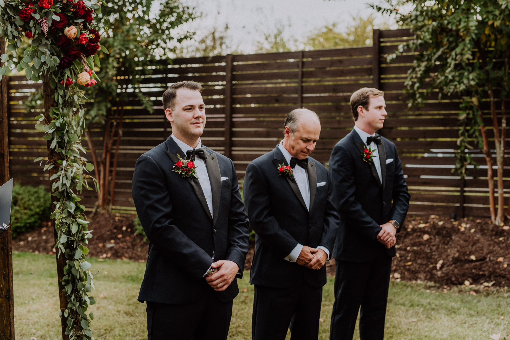 groom waiting for bride at ceremony the cordelle nashville wedding