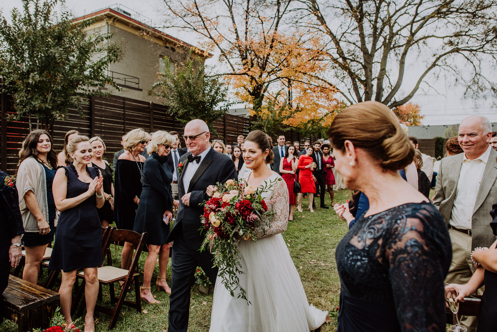 bride and father walking down aisle outdoor wedding ceremony at the cordelle nashville