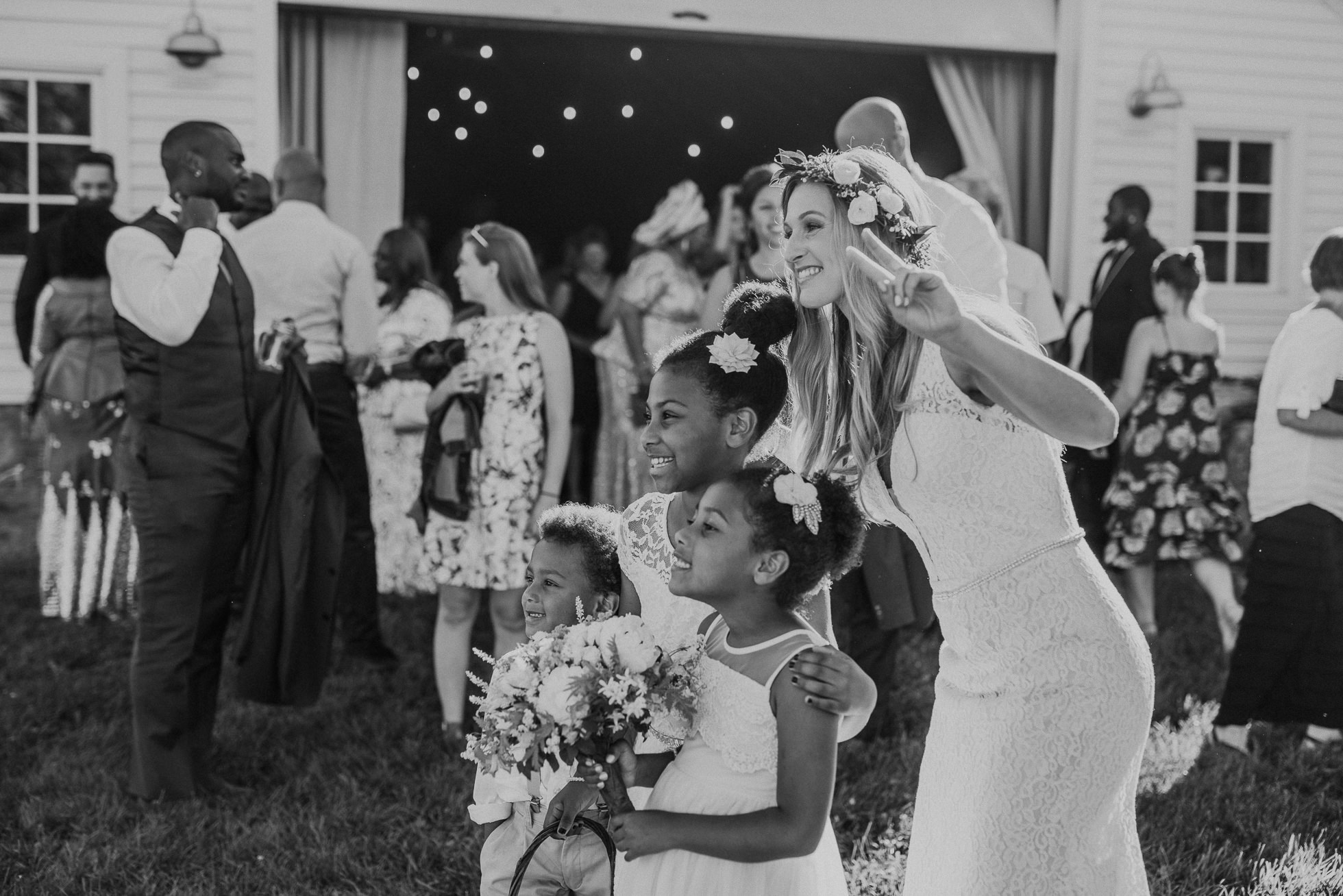 bride and flower girls photographed by Traverse the Tides