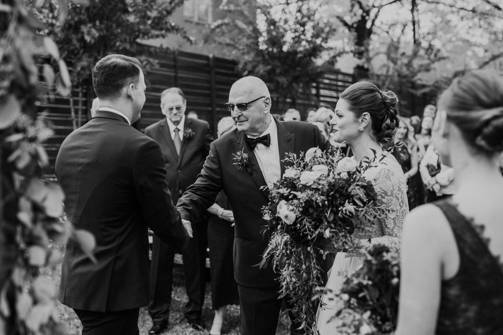 groom shaking hands with brides father wedding ceremony at the cordelle nashville