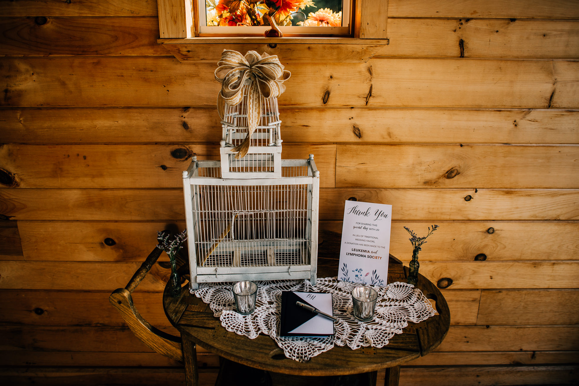 gift box at olde tater barn wedding in central bridge, ny photographed by traverse the tides