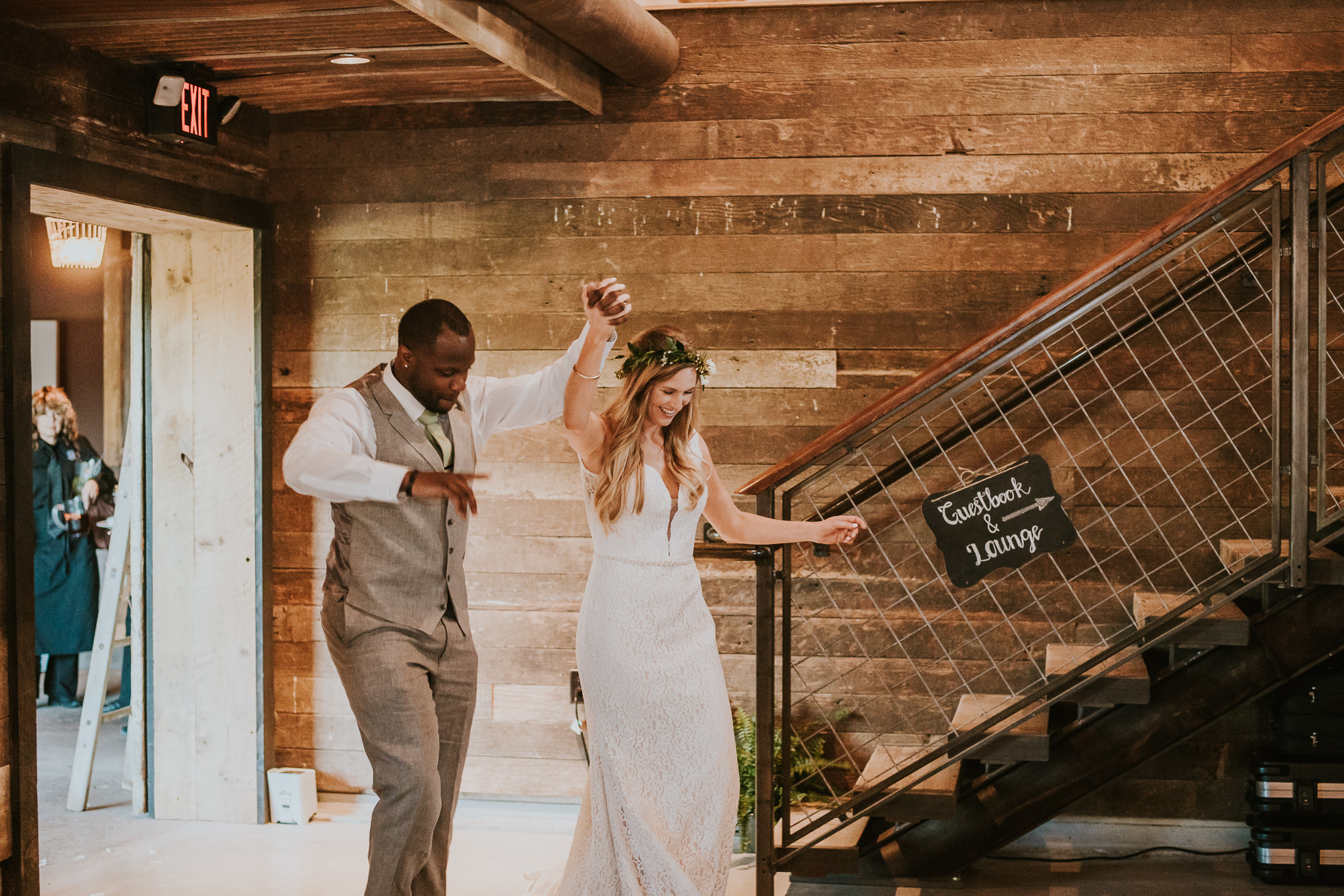 bride and groom wedding reception photographed by Traverse the Tides