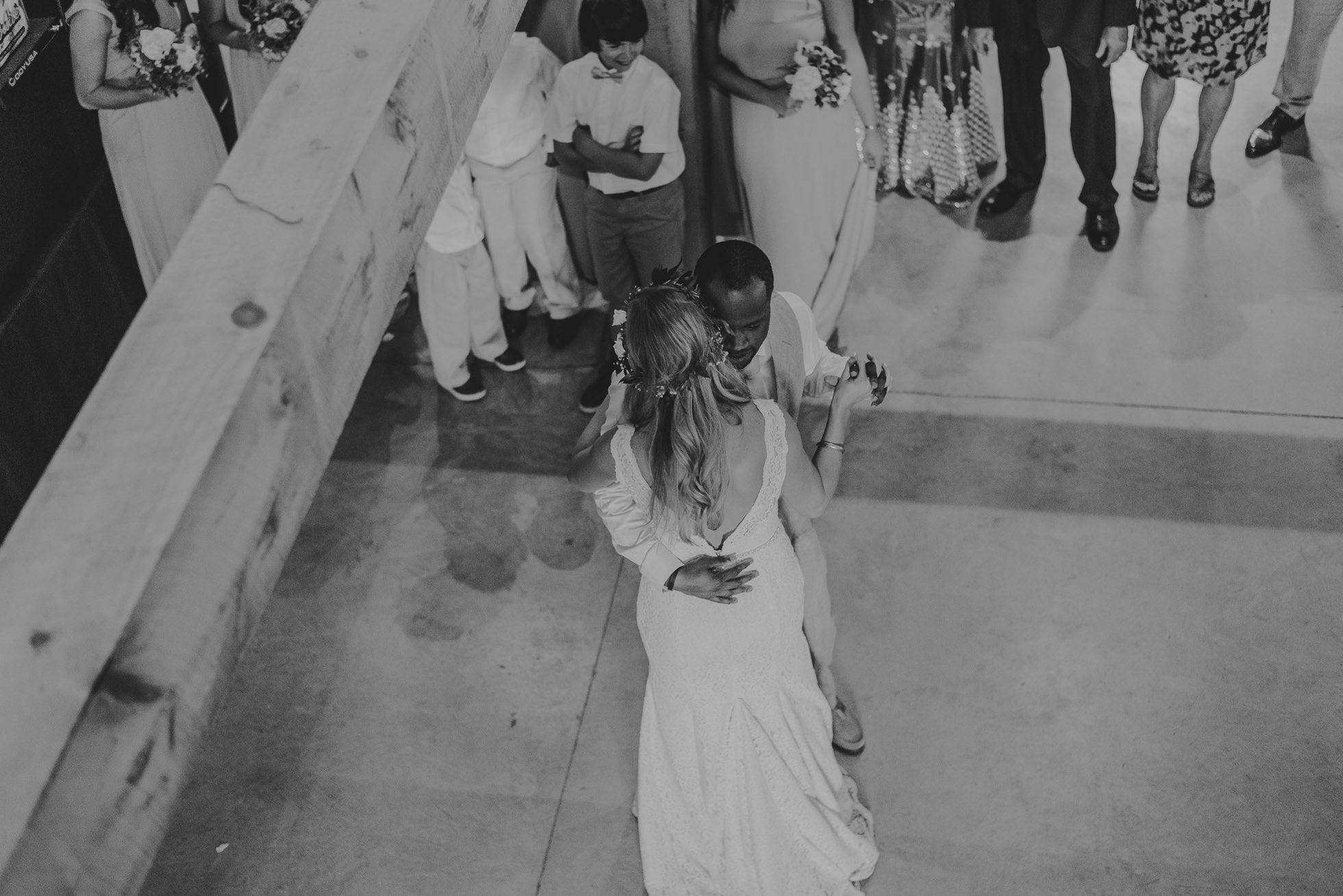 wedding first dance overhead photographed by Traverse the Tides