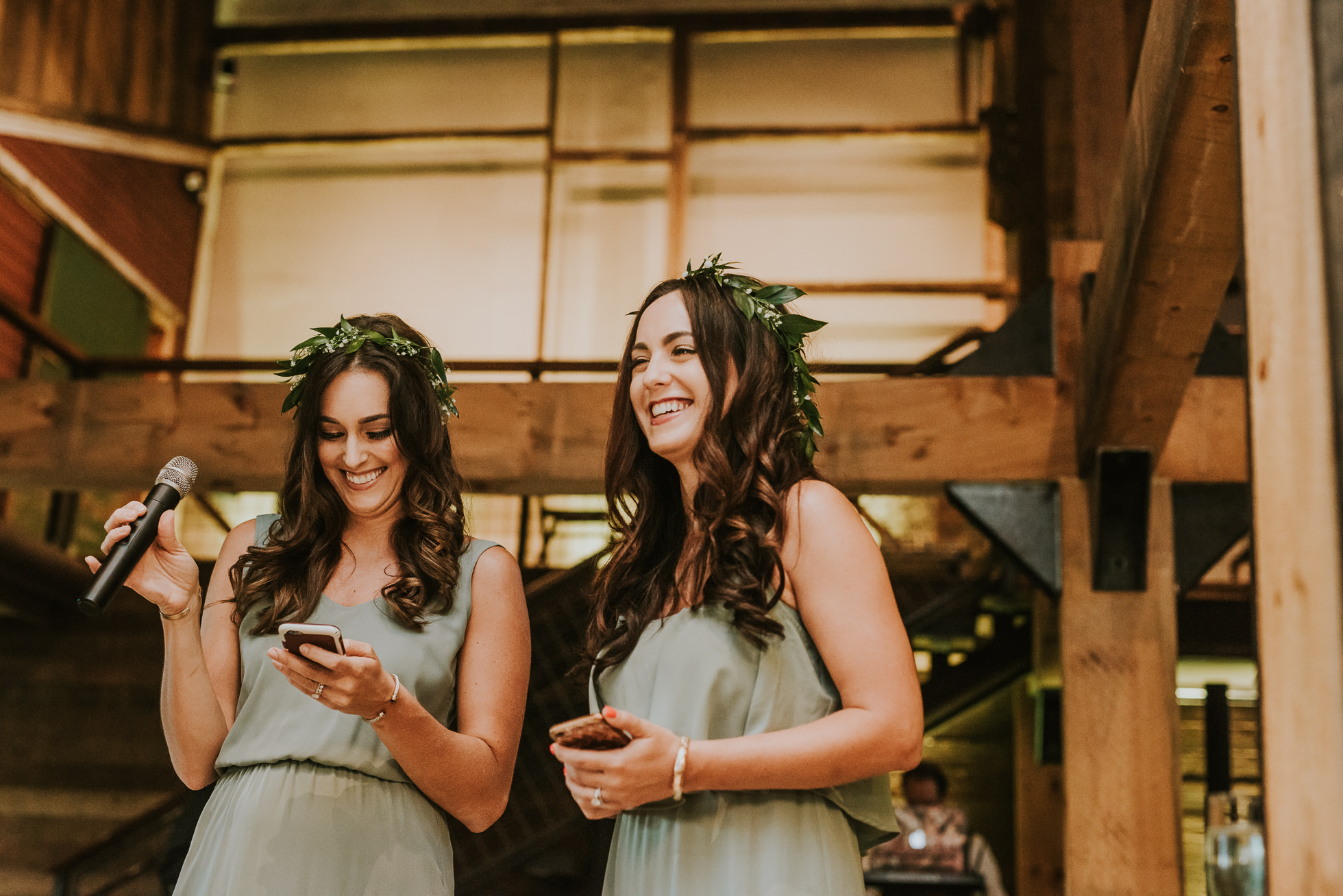 bridesmaids wedding speeches photographed by Traverse the Tides