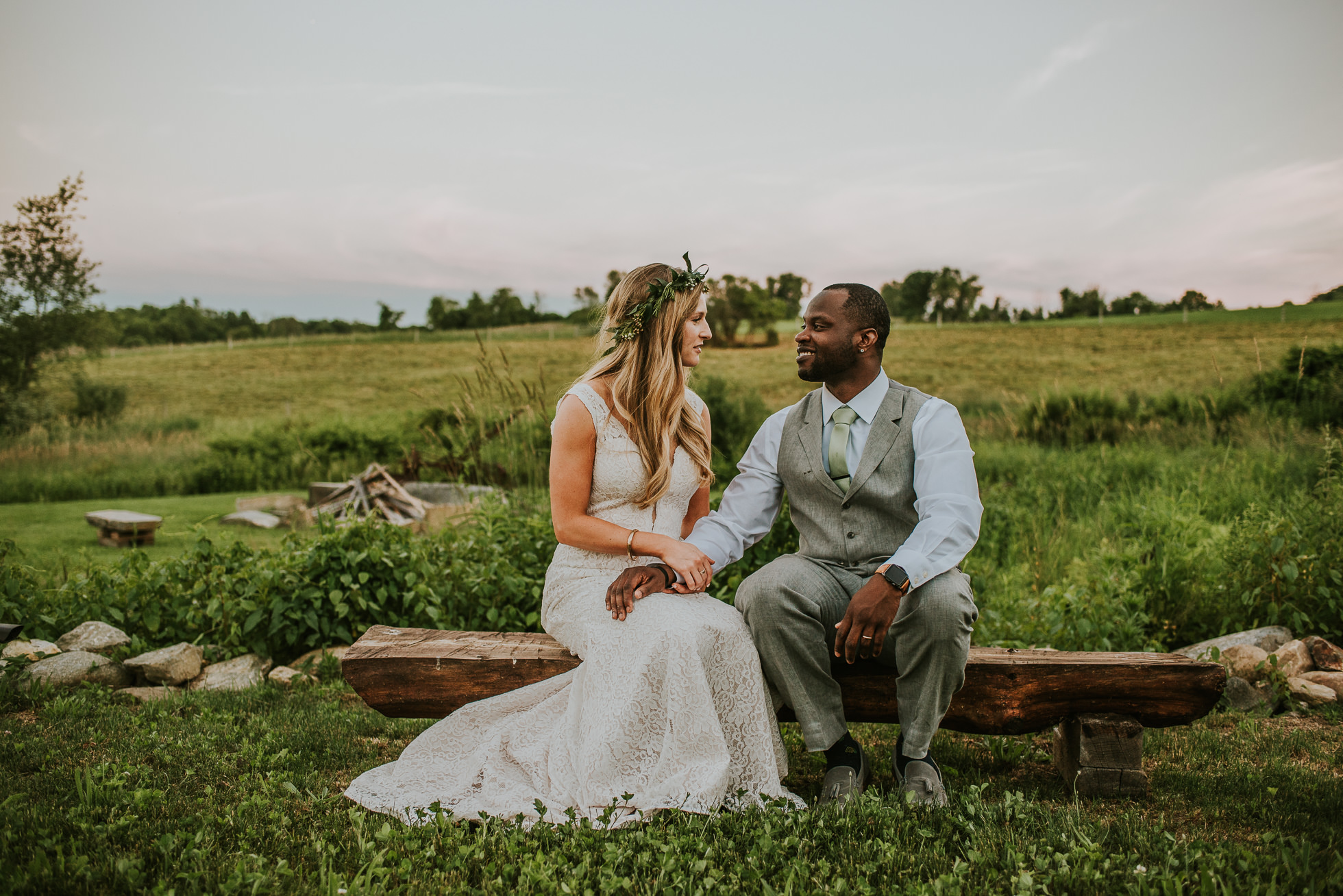 bride and groom farm wedding photographed by Traverse the Tides