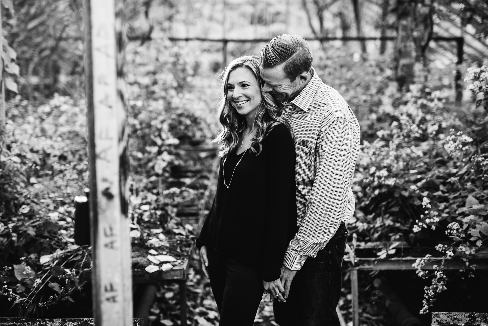 black and white engagement session photographed by Traverse the Tides
