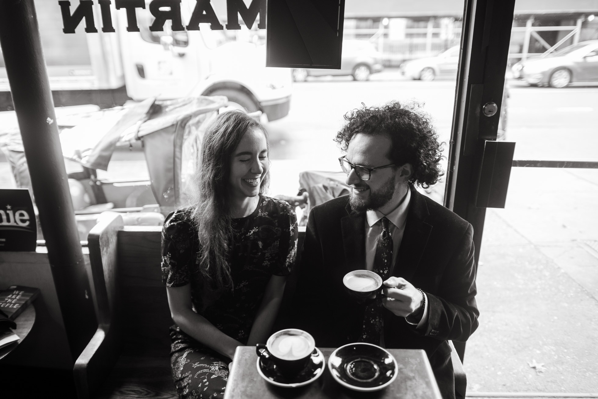 Brooklyn coffee shop engagement photos