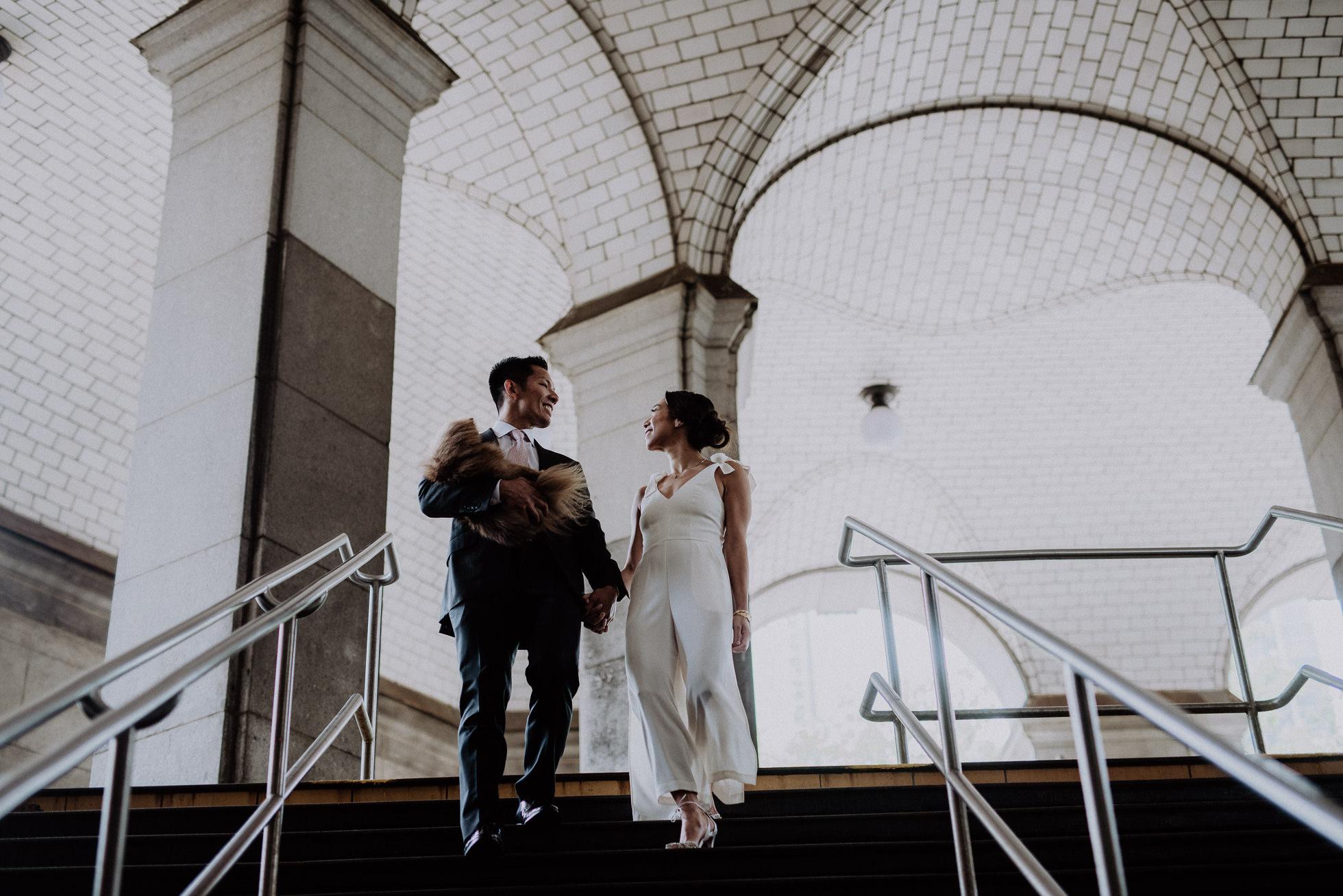 downtown NYC subway wedding