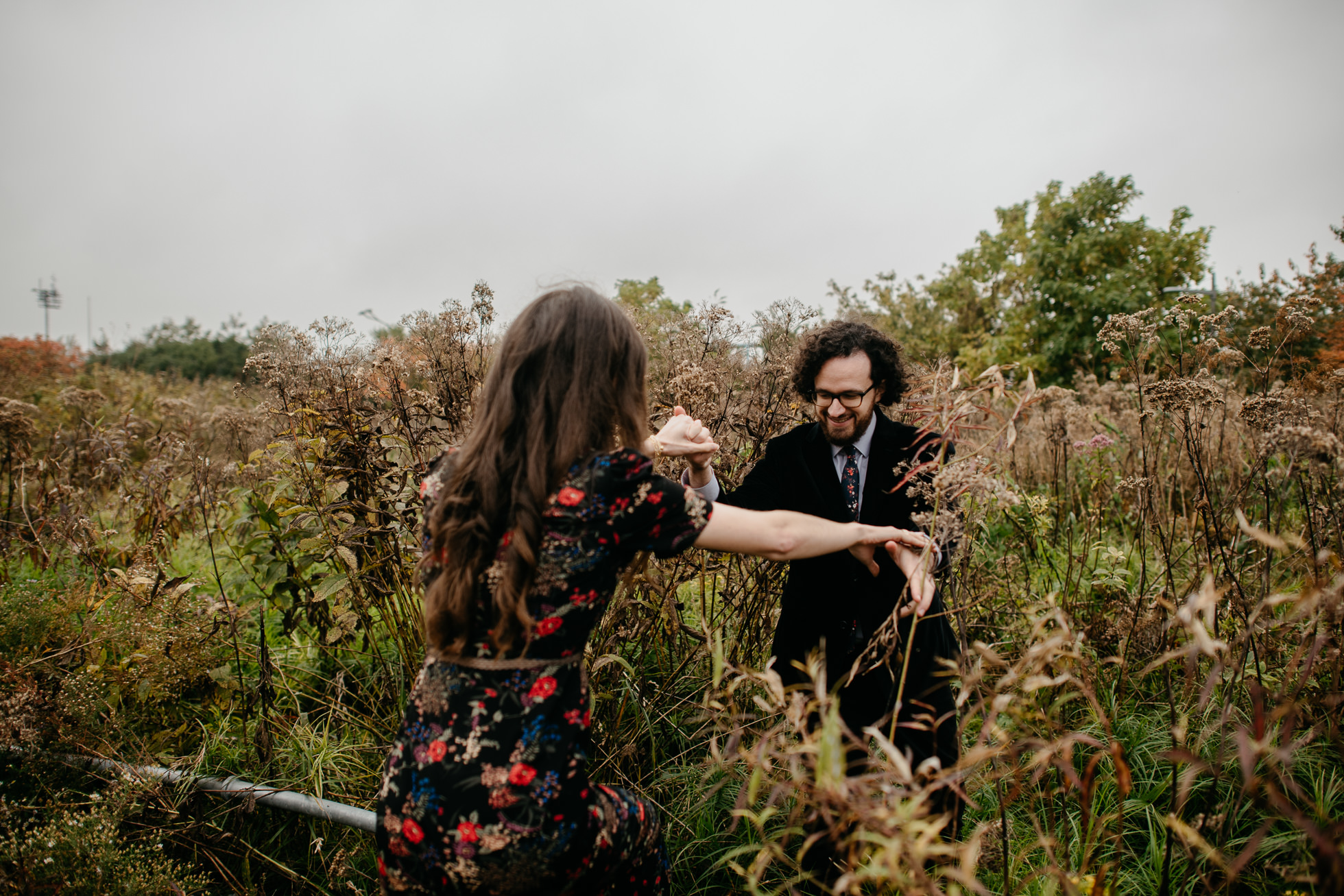 engagement photos in flower field