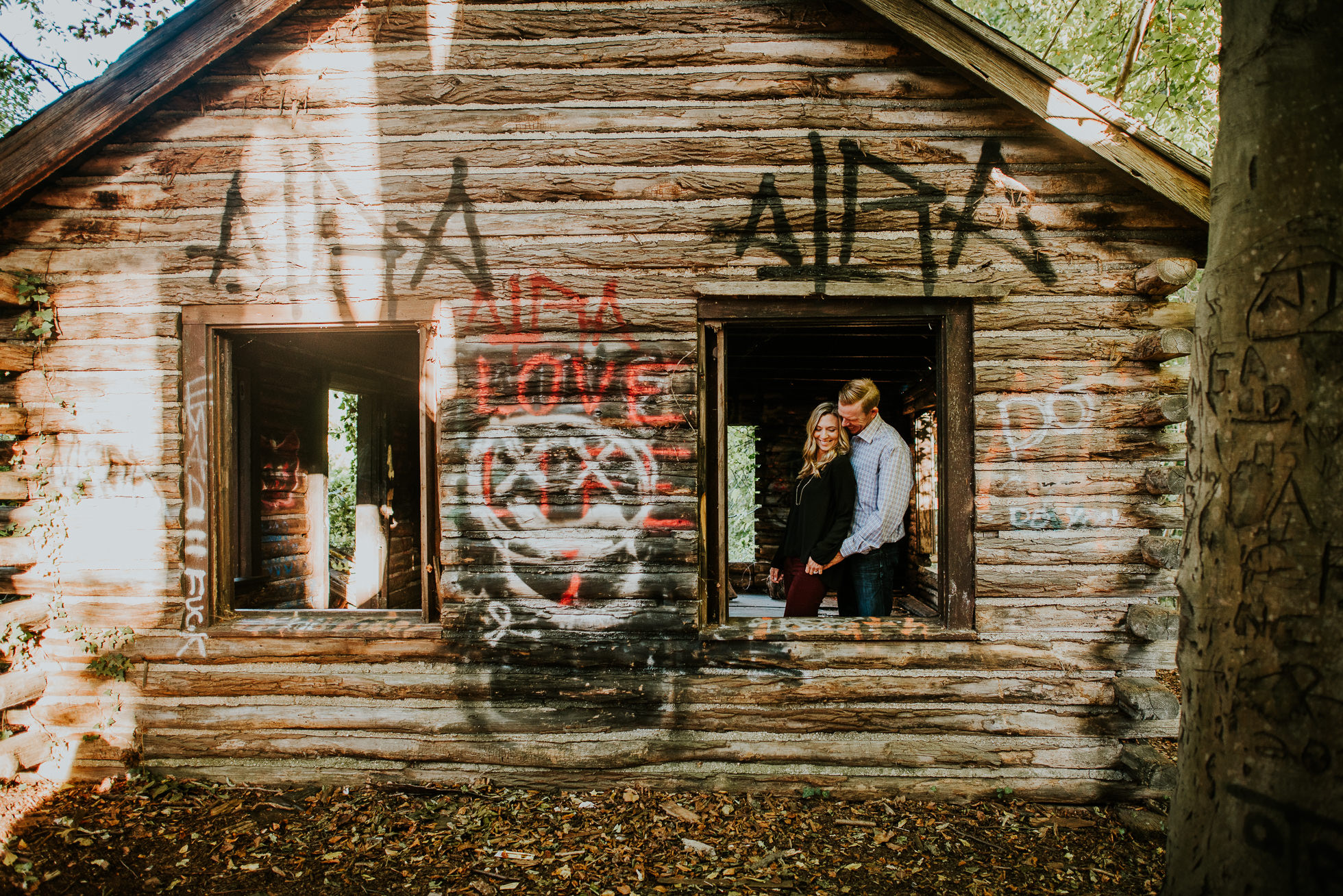 graffiti engagement session photographed by Traverse the Tides