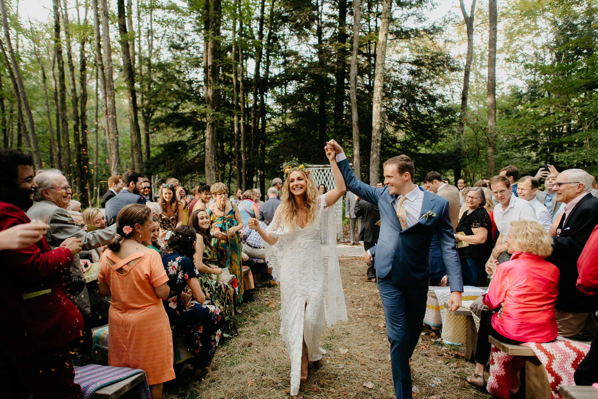 hippie bride and groom