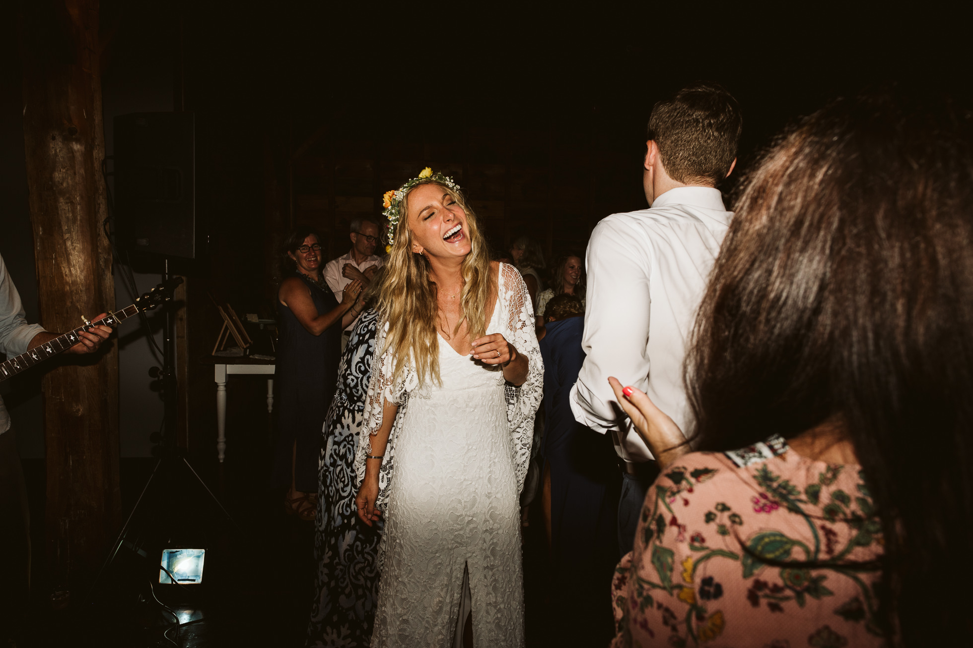 hippie bride dancing