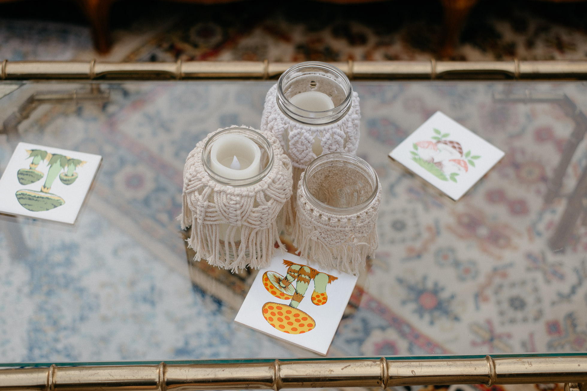 macrame wedding candles