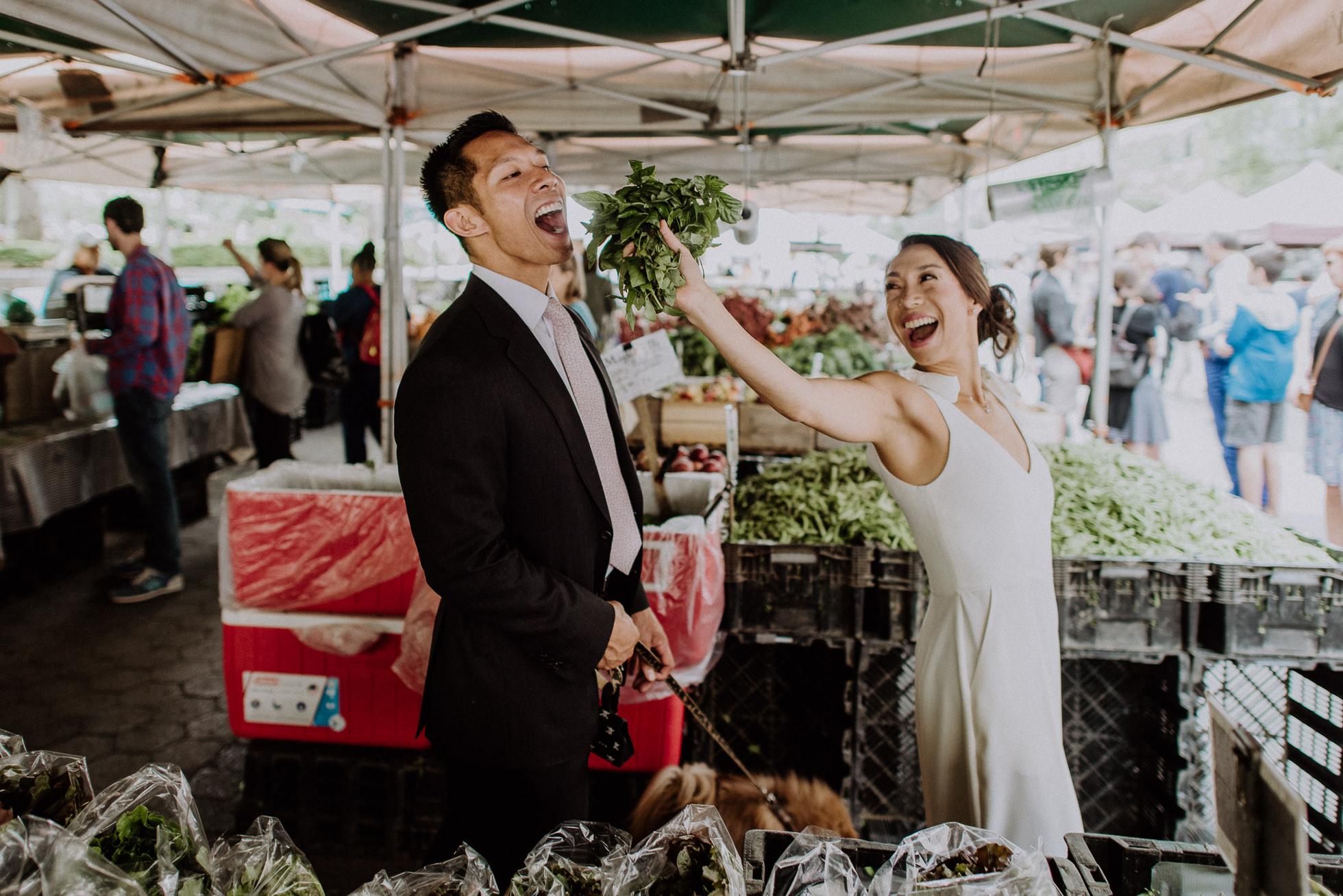 NYC greenmarket engagement photos