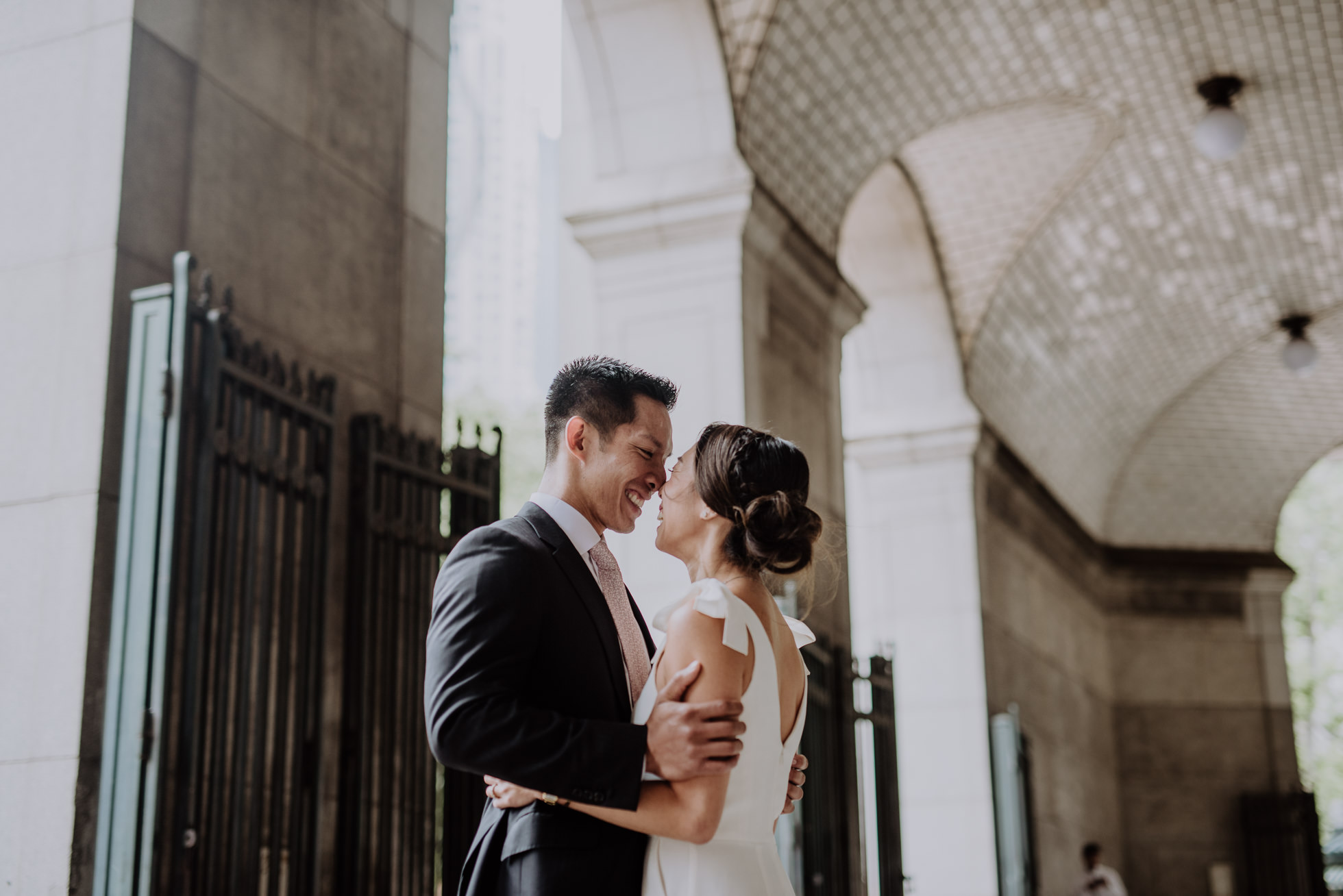 NYC subway wedding portraits