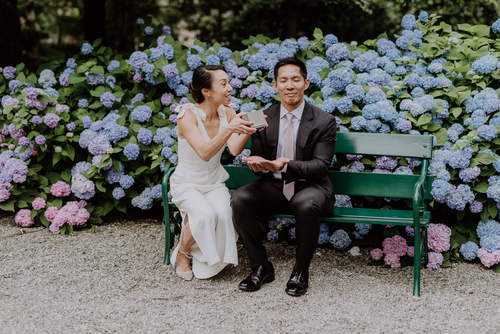 park bench wedding photos