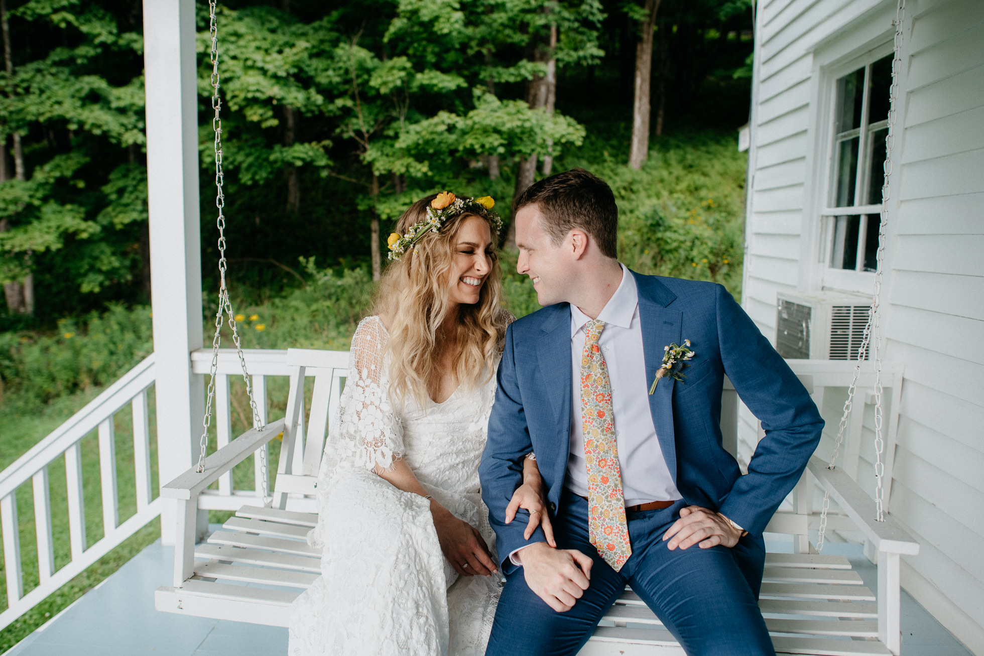 porch swing wedding photos