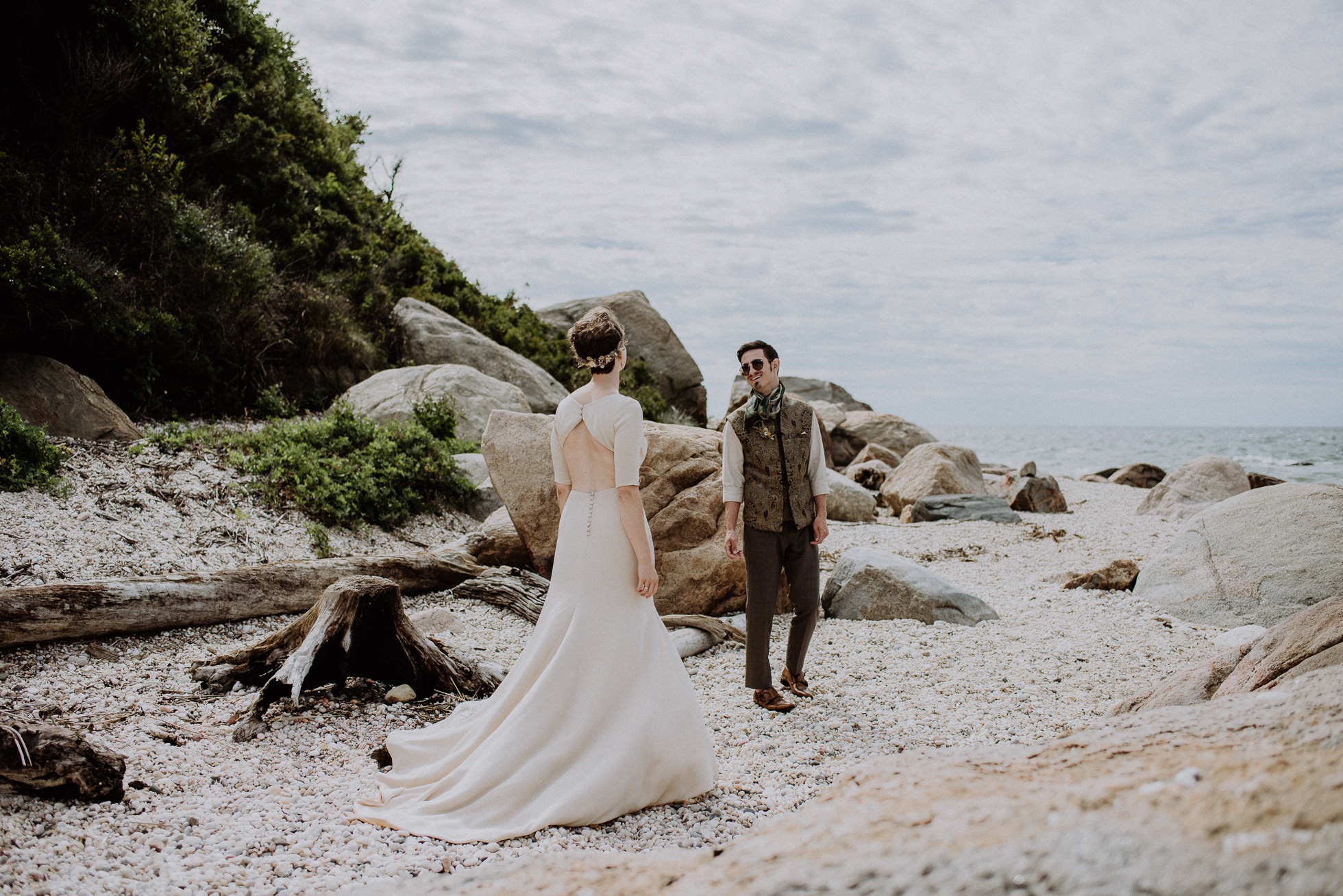 rocky beach wedding photos
