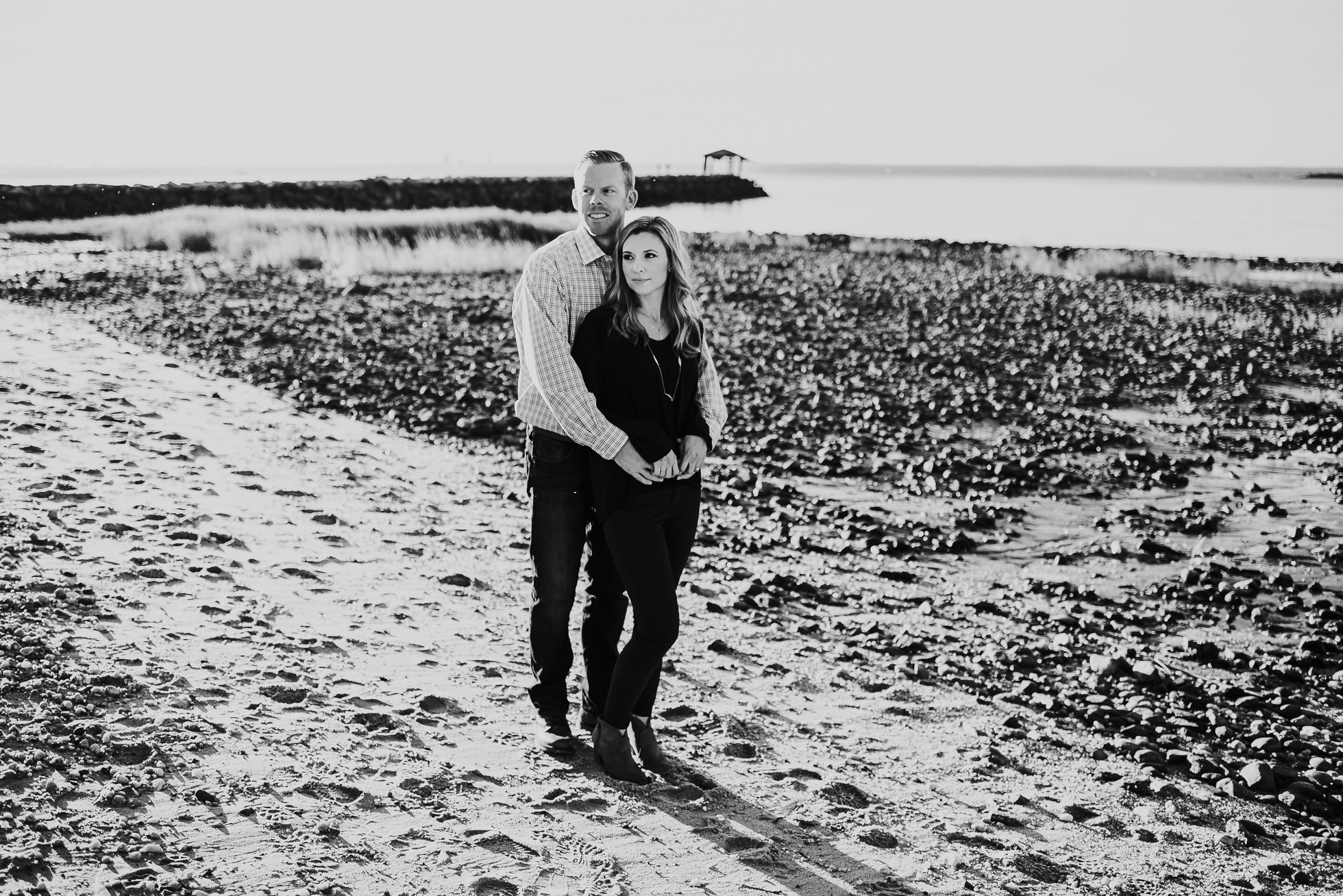 romantic black and white engagement session photographed by Traverse the Tides