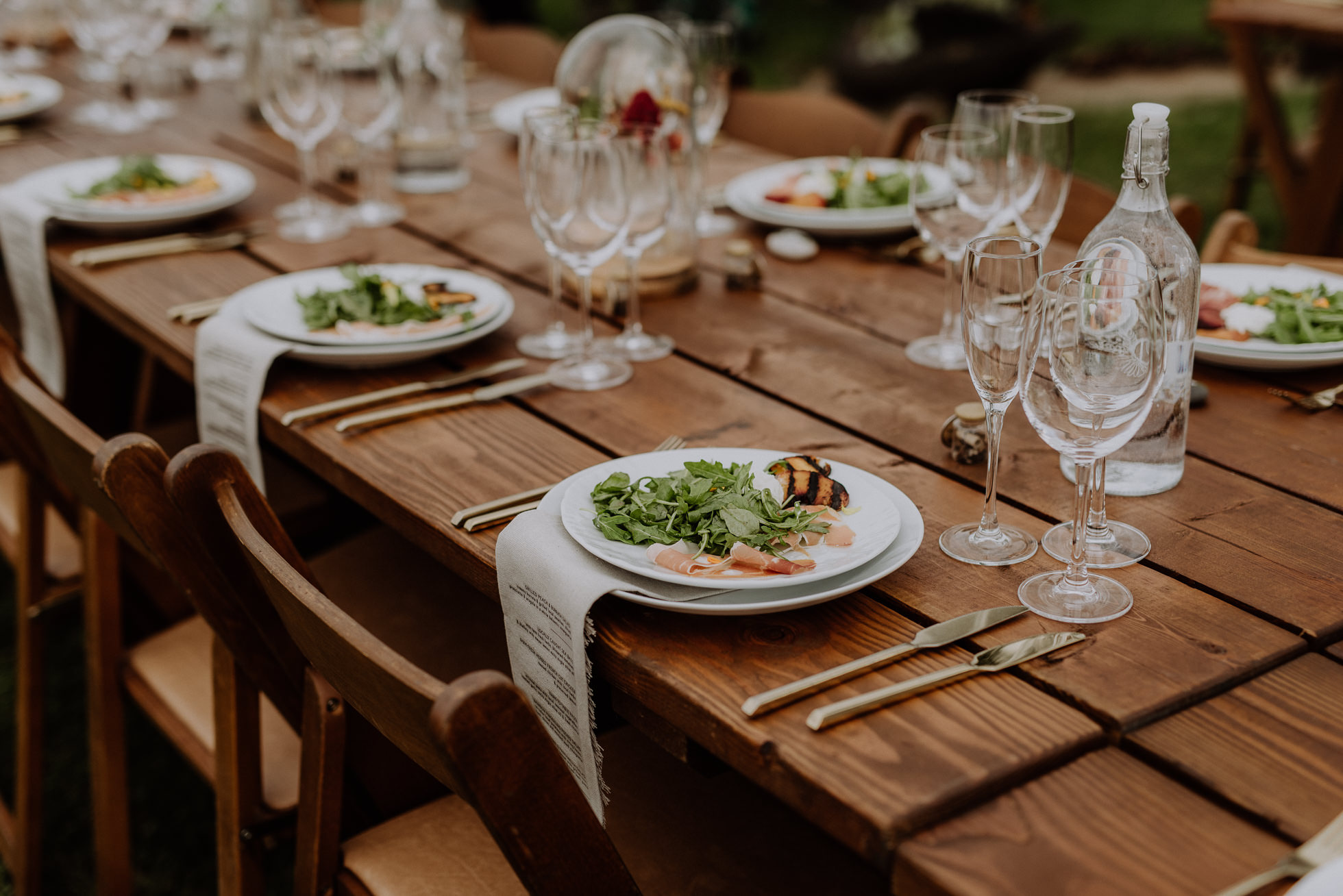 rustic salad wedding reception