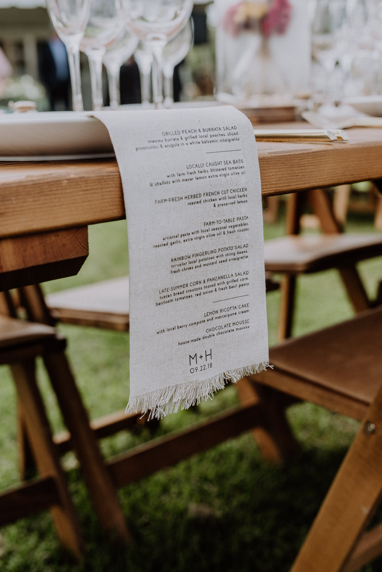 rustic wedding menus