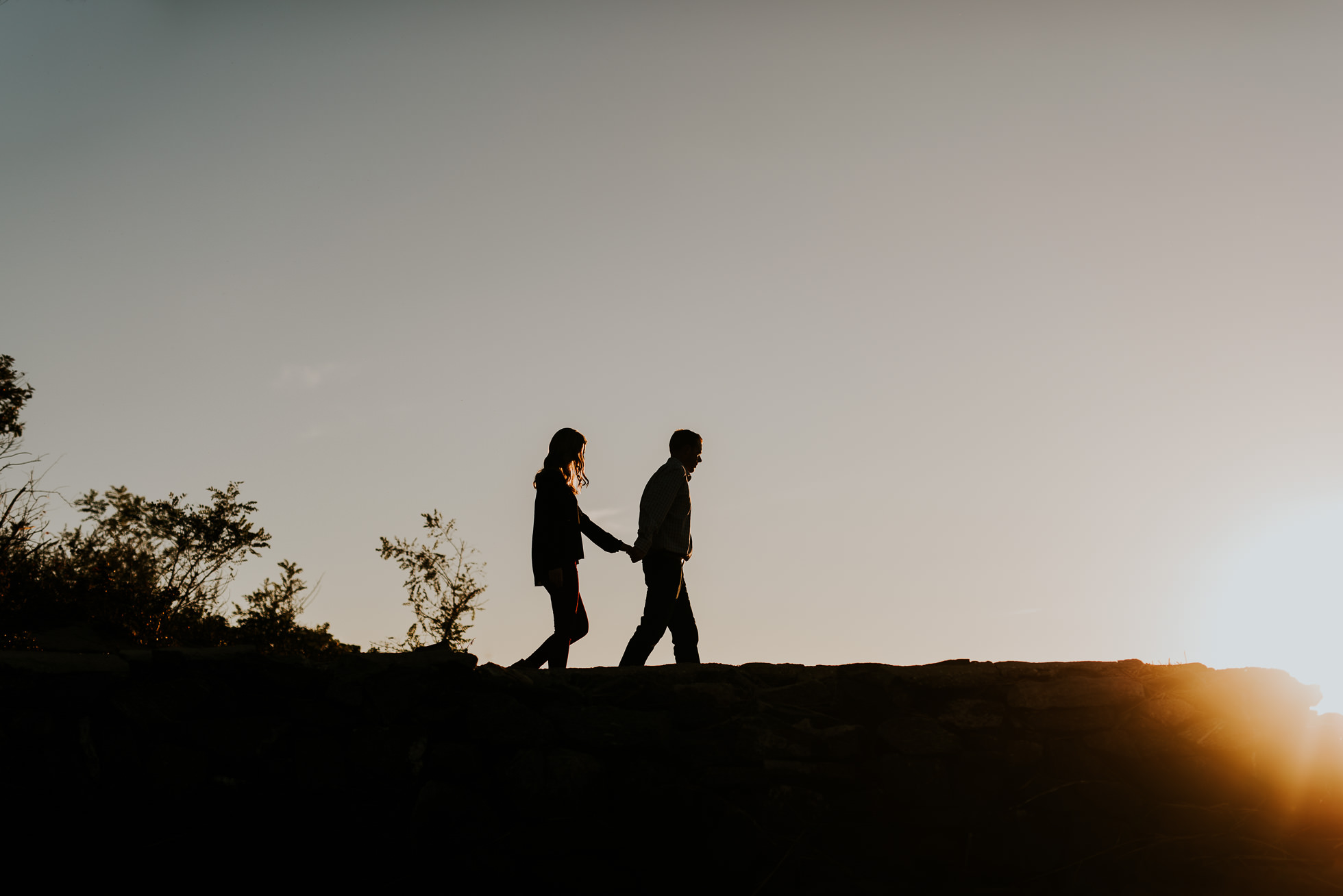 silhouette engagement session photographed by Traverse the Tides