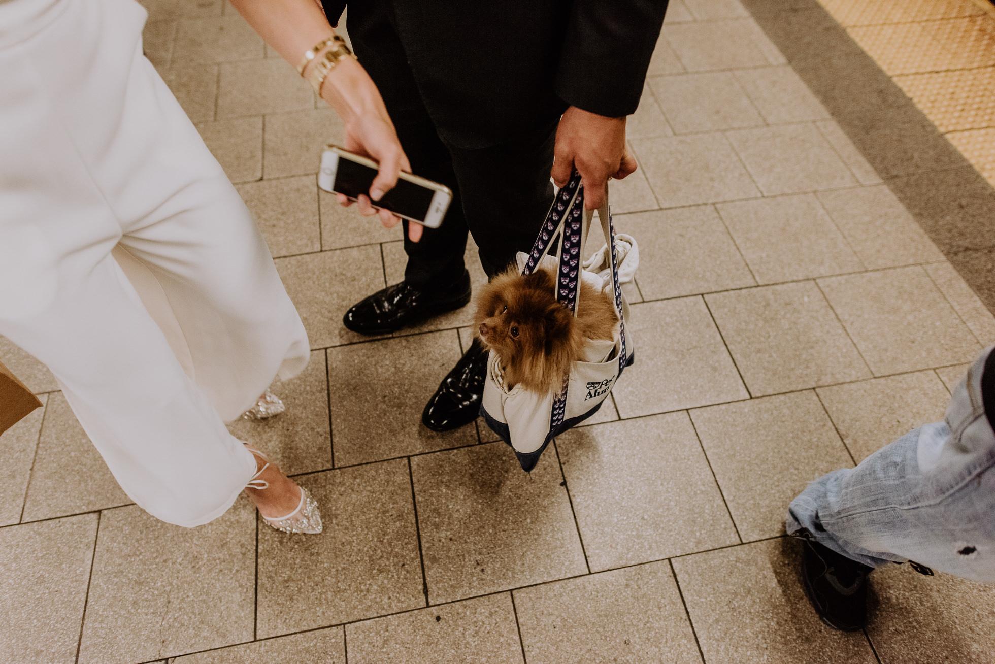 subway wedding photos in Manhattan